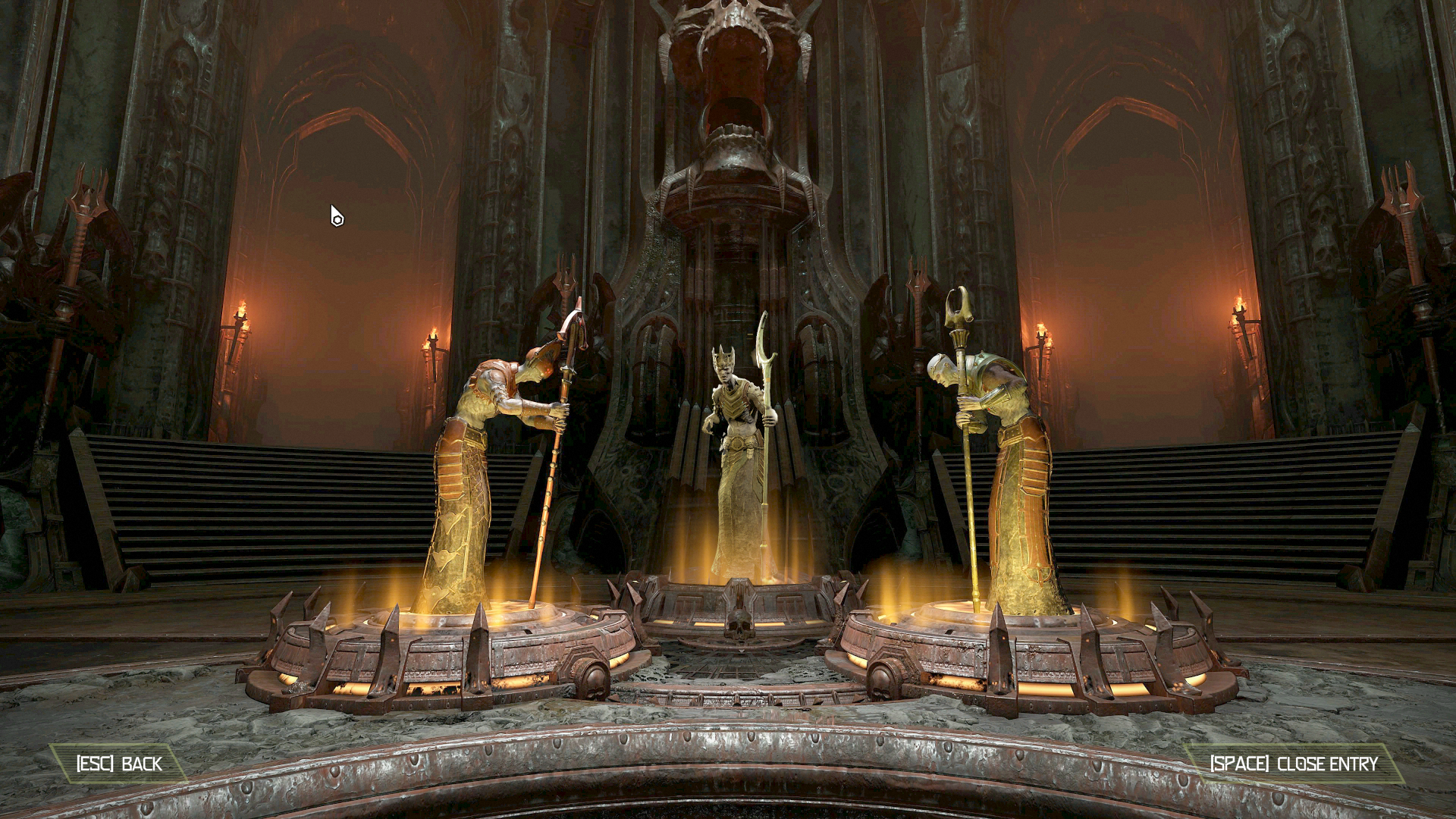 Three Hell Priest stand in a circle in Doom Eternal