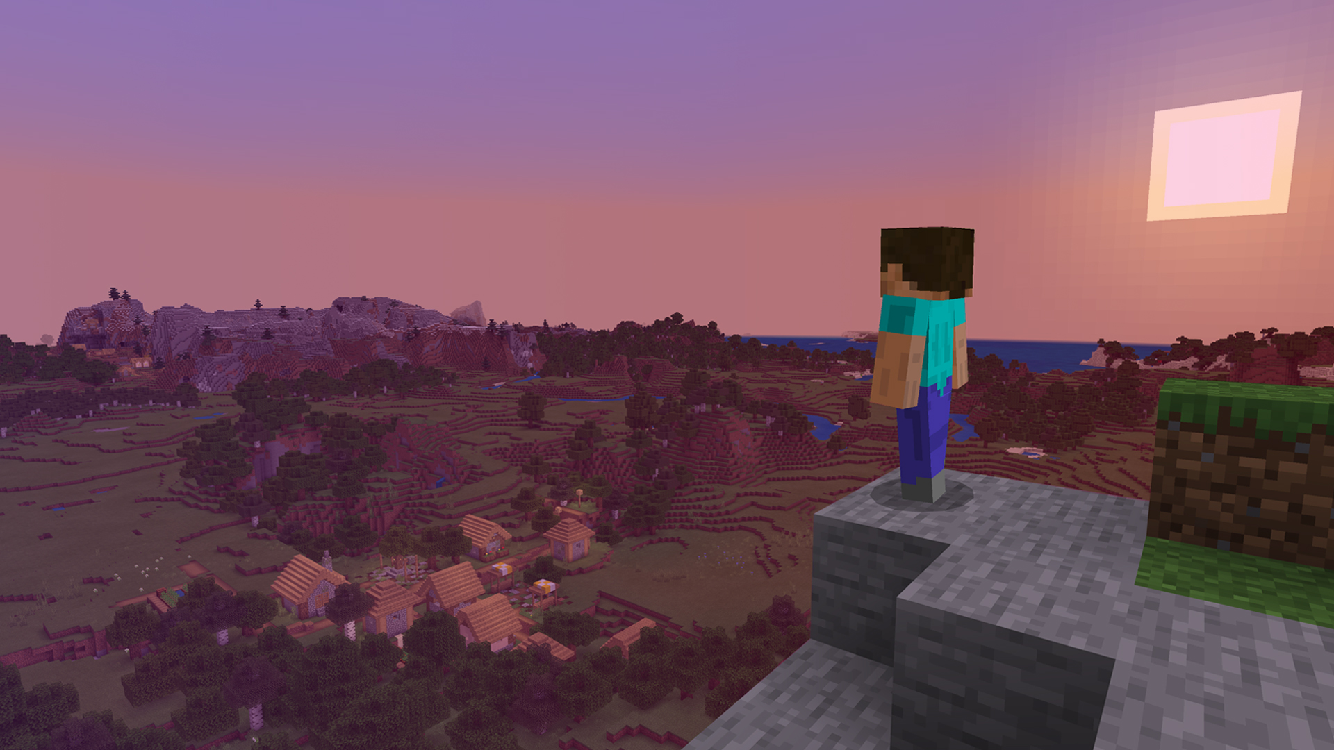 Minecraft Steve standing on a stone ledge as the sun sets behind him in a purple sky.
