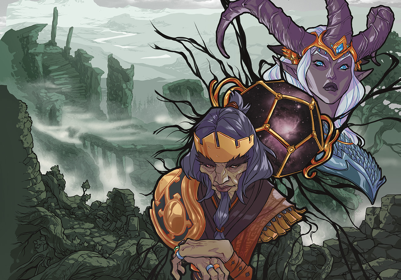 Cover art for Explorer's Guide to Wildemount features Bright Queen Leylas Kryn, a tiefling with large purple horns, and King Bertrand Dwendal. Between them is a Luxon beacon, a large jeweled polyhedral shaped like a d12.