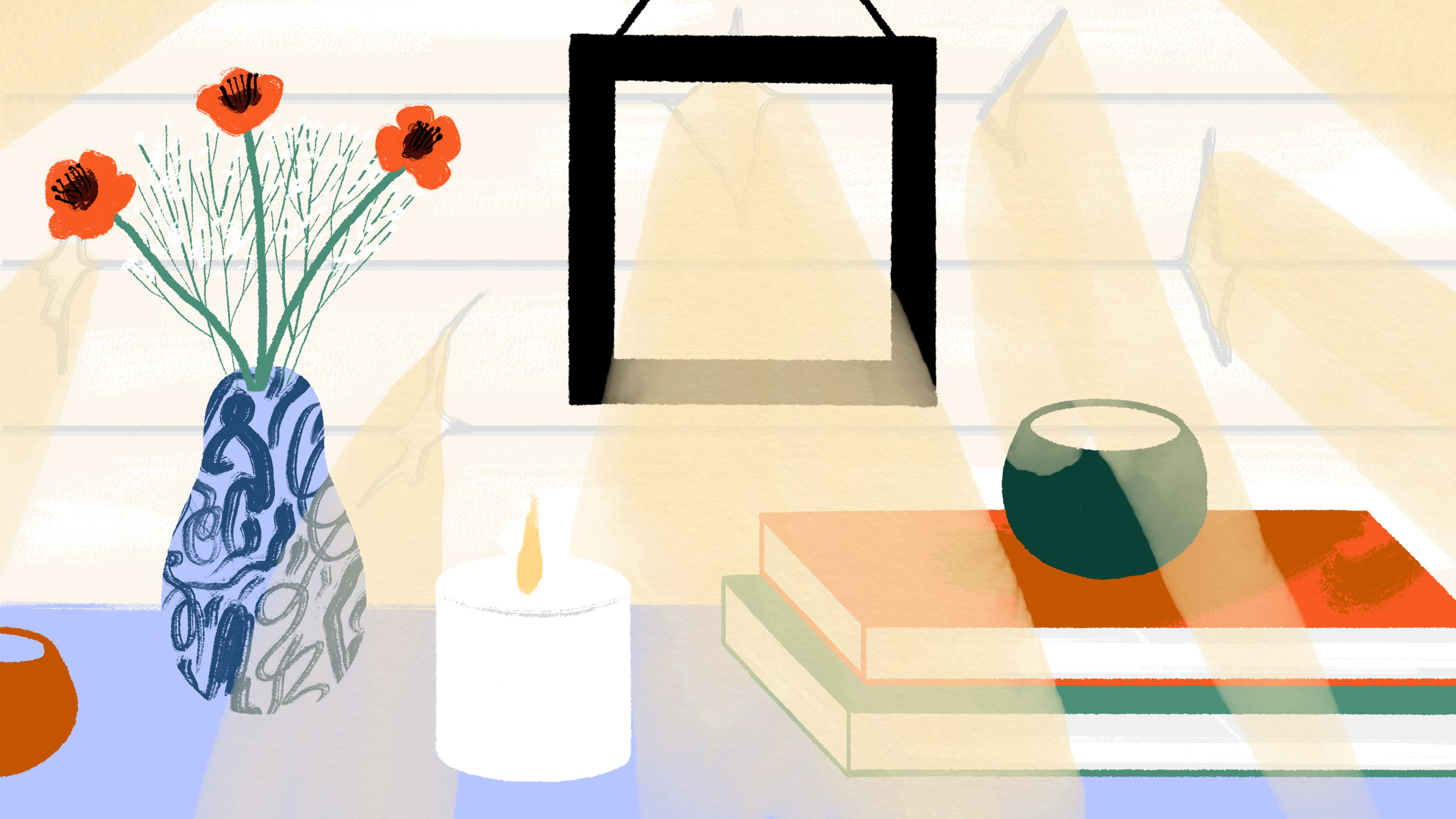 An illustration of a serene table, with a vase of flowers, a stack of books, and light filtering through a window.