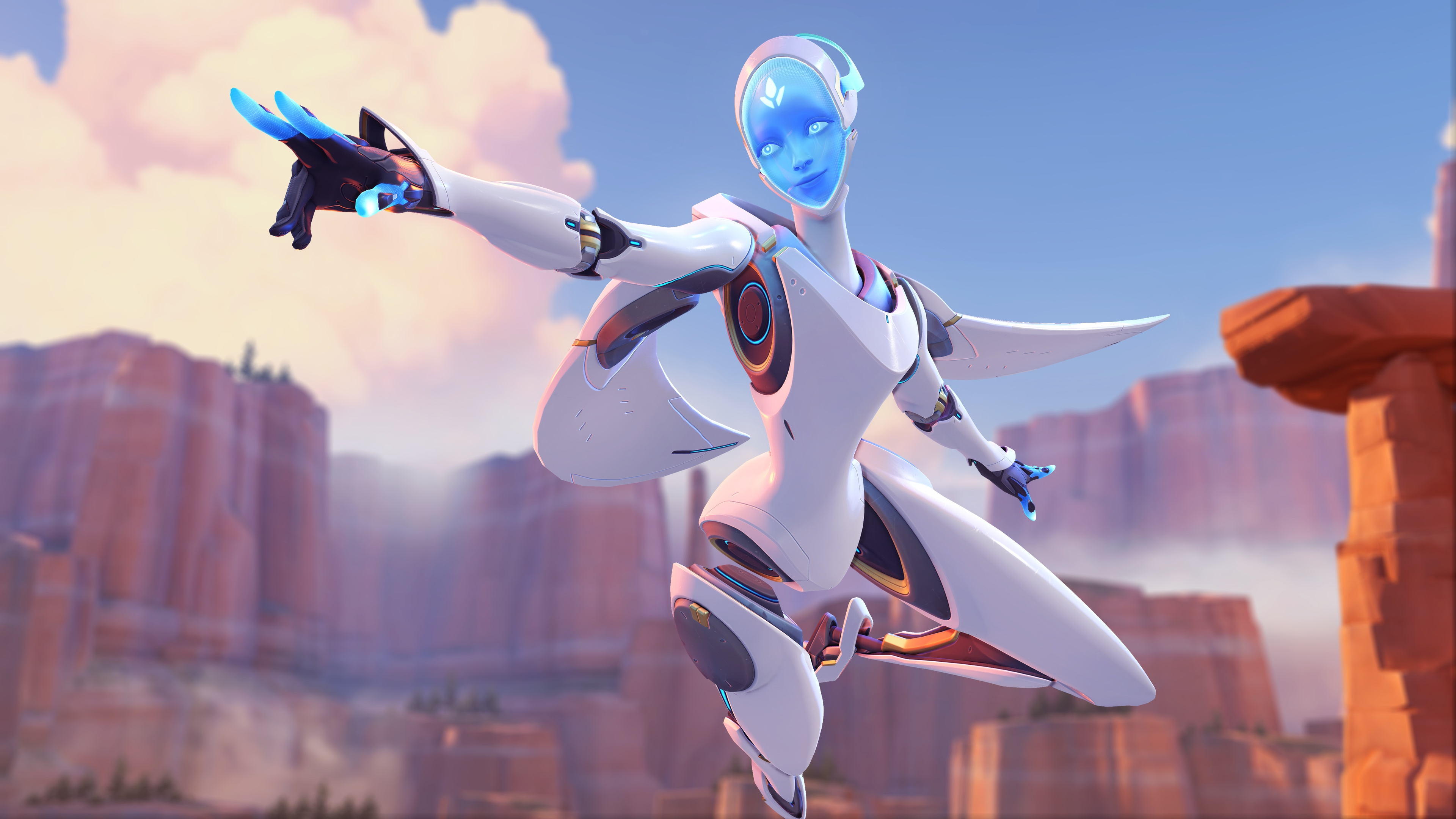 Echo, the AI robot hero, flies over Route 66 in a screenshot from Overwatch