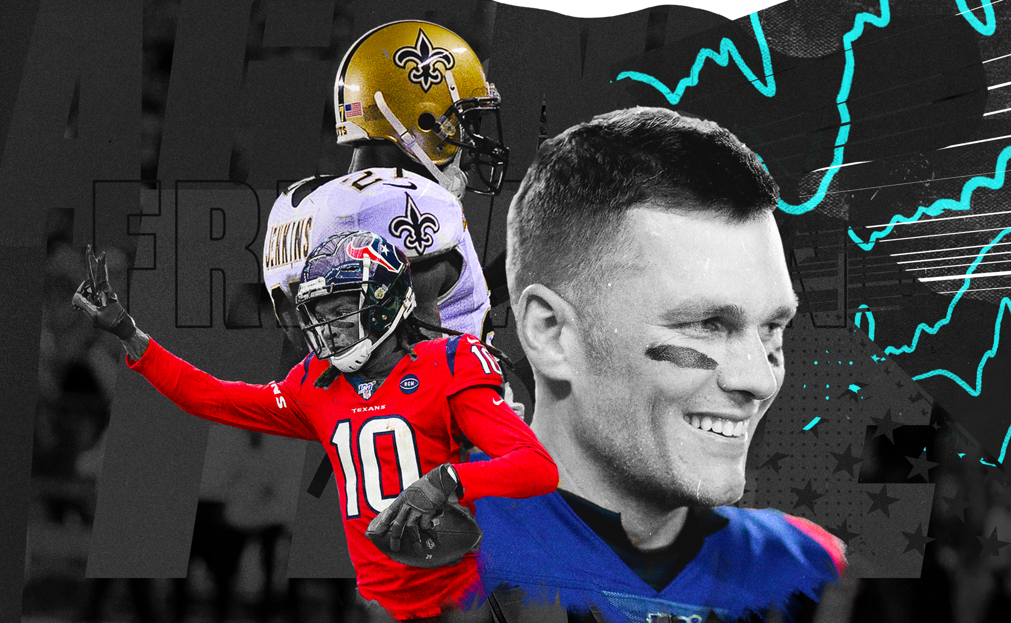 A collage of NFL players Tom Brady, DeAndre Hopkins, and Malcolm Jenkins, superimposed on a black background with aqua squiggly lines.