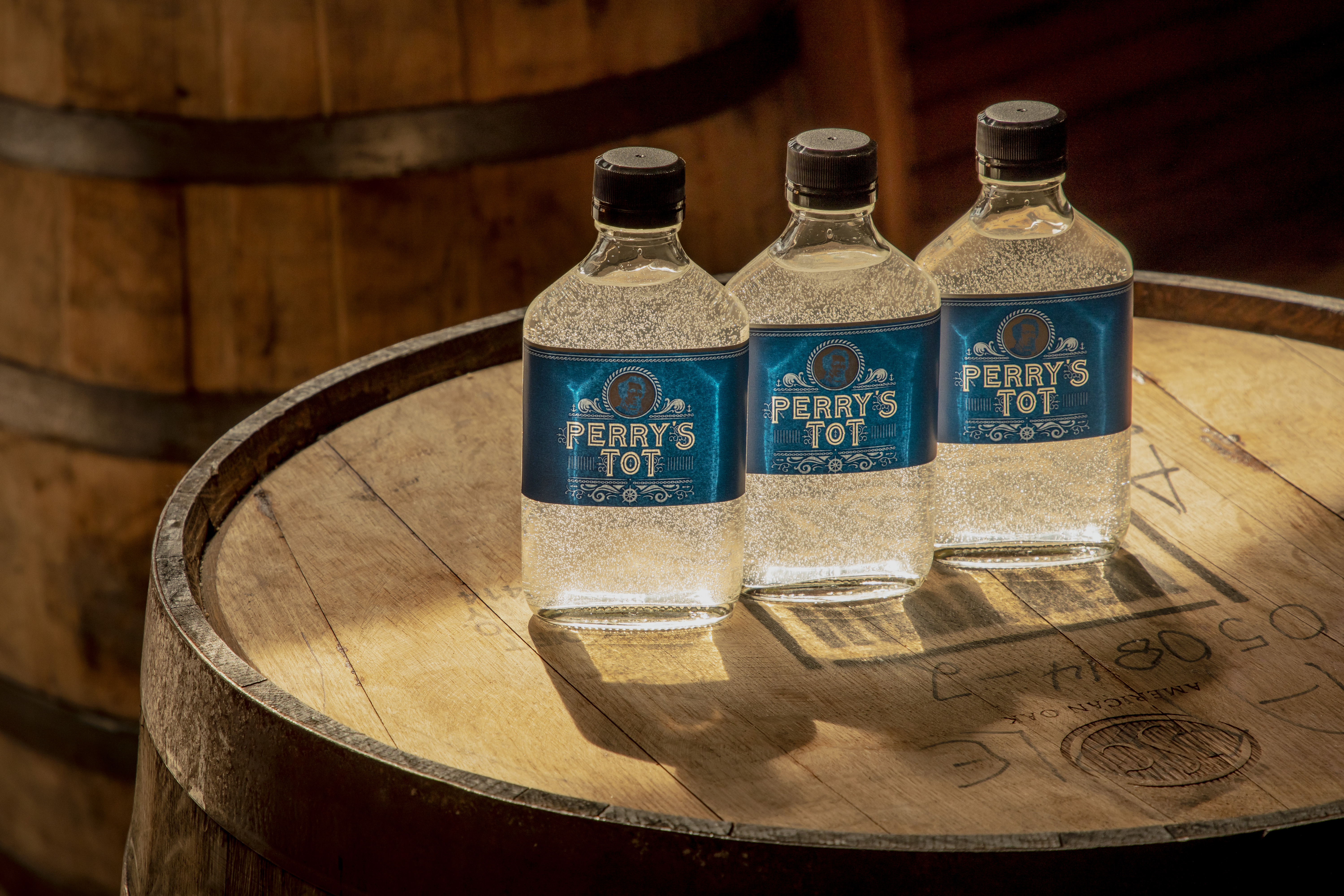 Hand sanitizer in glass flasks produced at New York Distilling Co.