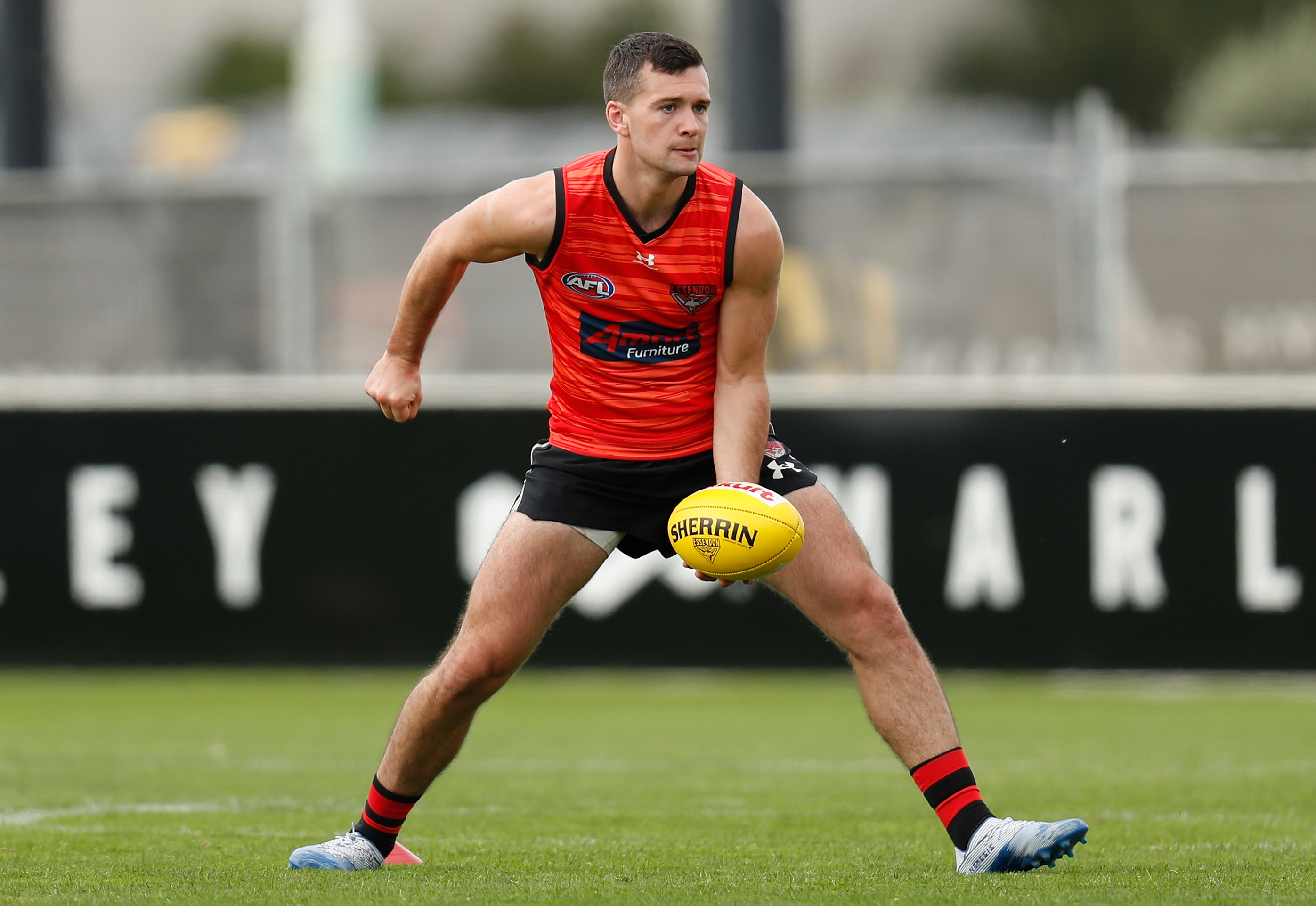 Conor McKenna of the Bombers in action during the Essendon Bombers training session at The Hangar on March 19, 2020 in Melbourne, Australia.