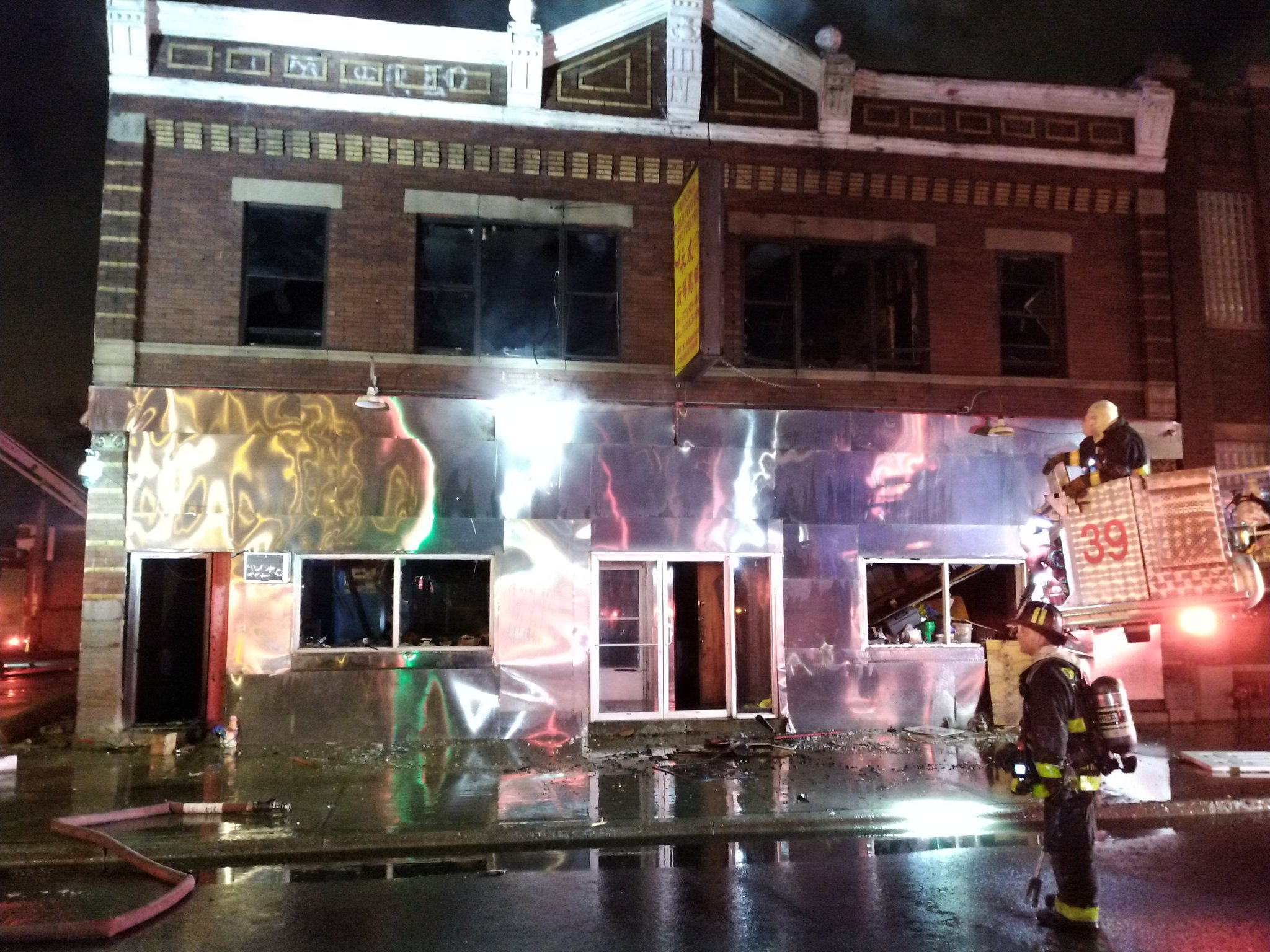 A Chicago firefighter was injured while battling an extra-alarm blaze March 21, 2020, in the 3700 block of South Ashland Avenue.