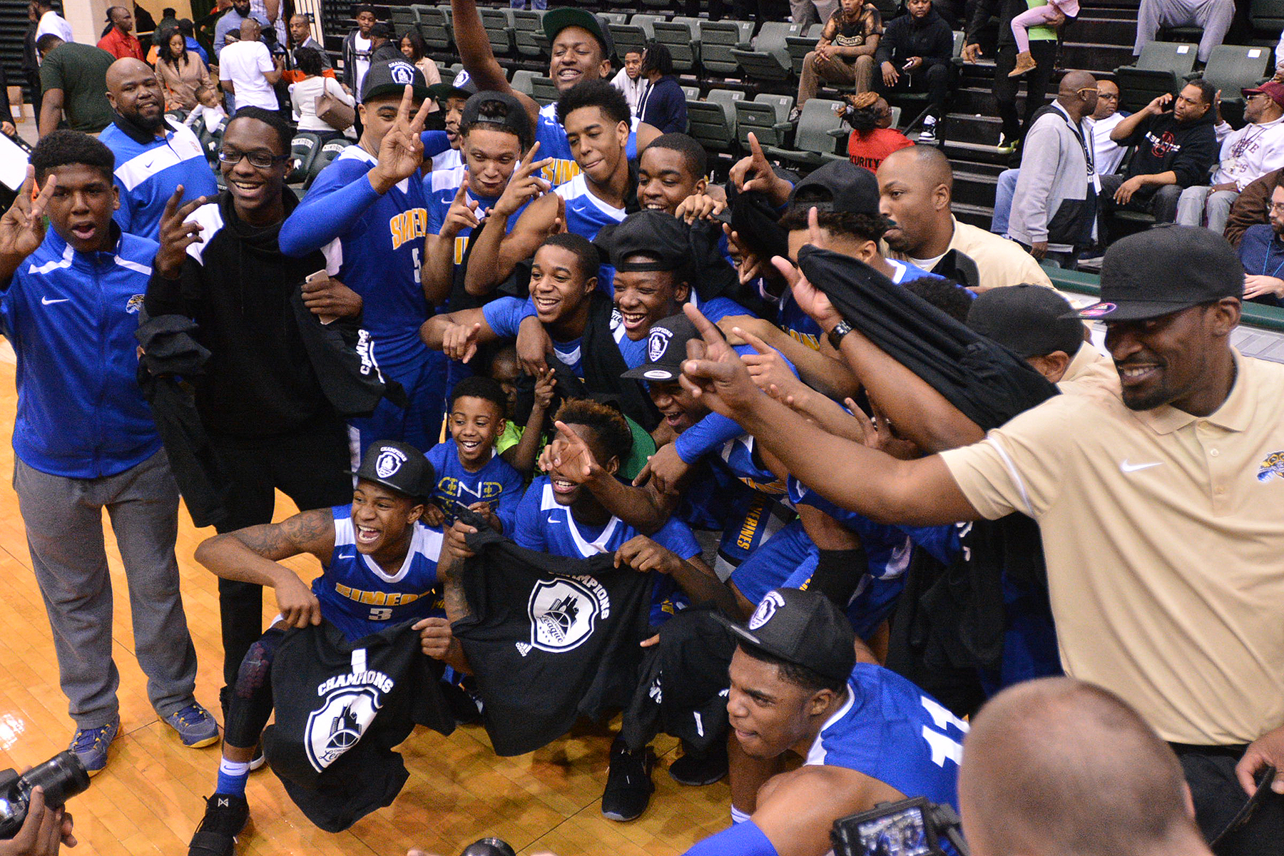 Simeon's celebrates a win against Morgan Park at Chicago State on Feb. 19, 2017.