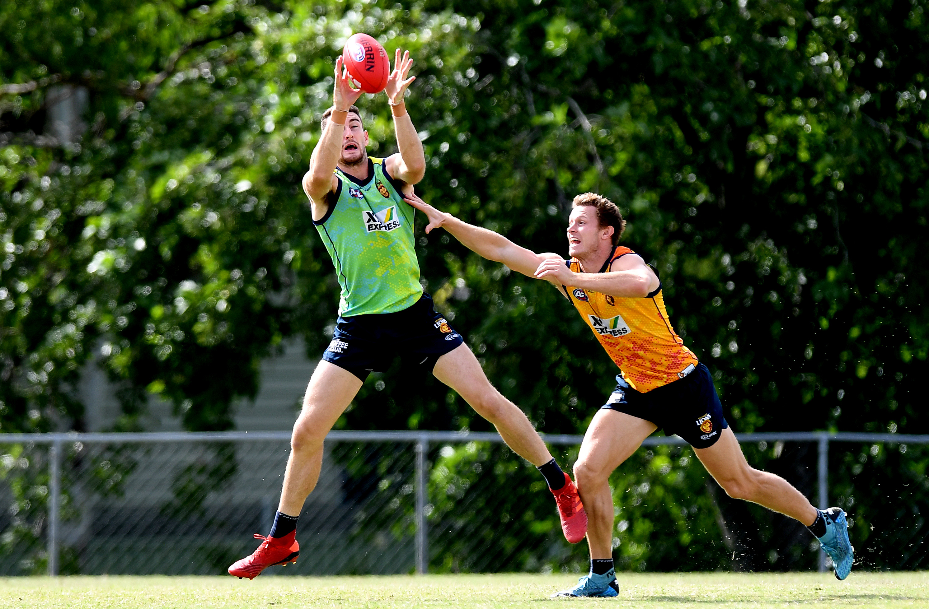 Daniel McStay takes a mark during a Brisbane Lions AFL training session at the AFL Queensland headquarters Yeronga training fields on March 11, 2020 in Brisbane, Australia.