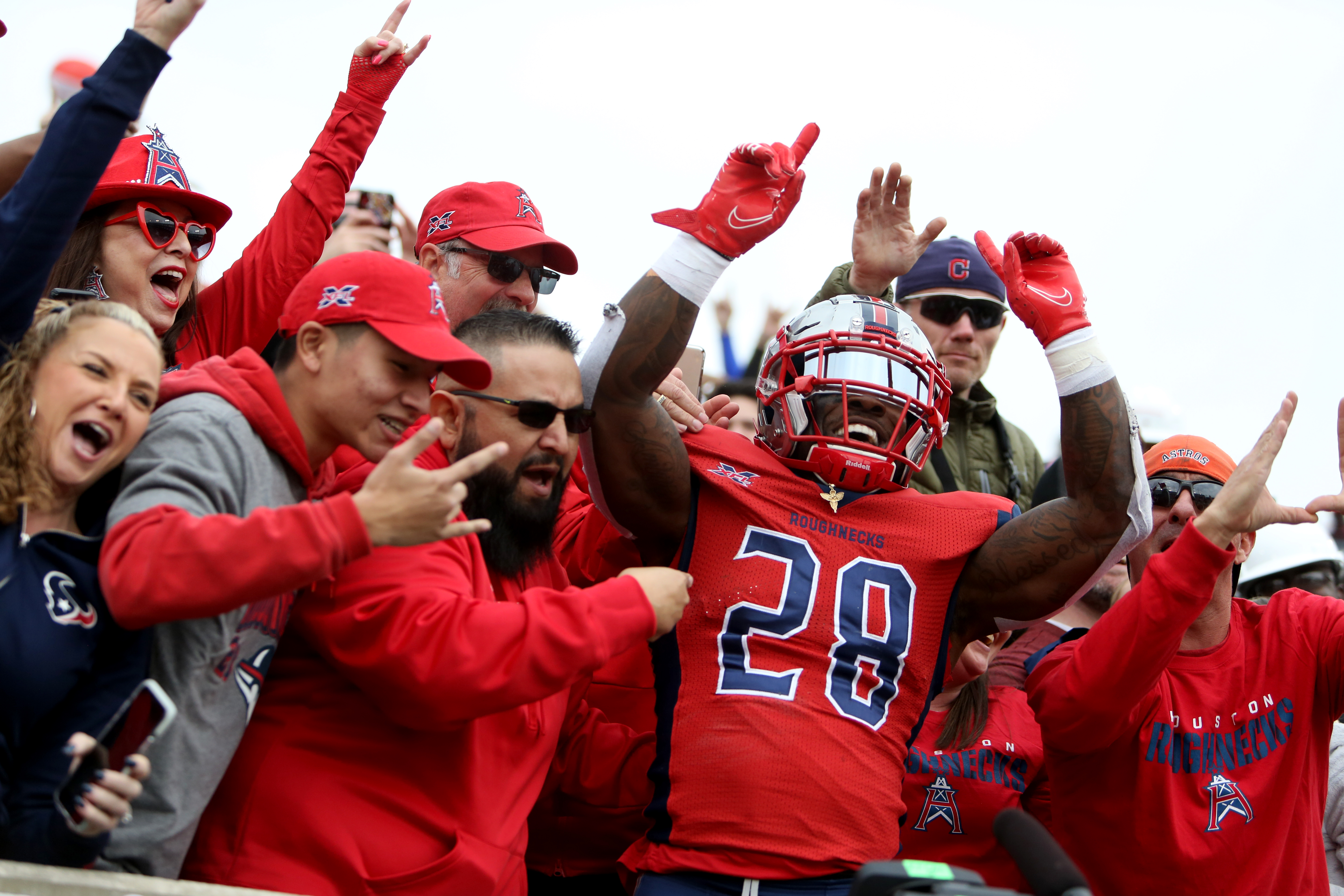 James Butler #28 of the Houston Roughnecks celebrates his touchdown with Houston Roughnecks fans in the stands at TDECU Stadium on March 7, 2020 in Houston, Texas.