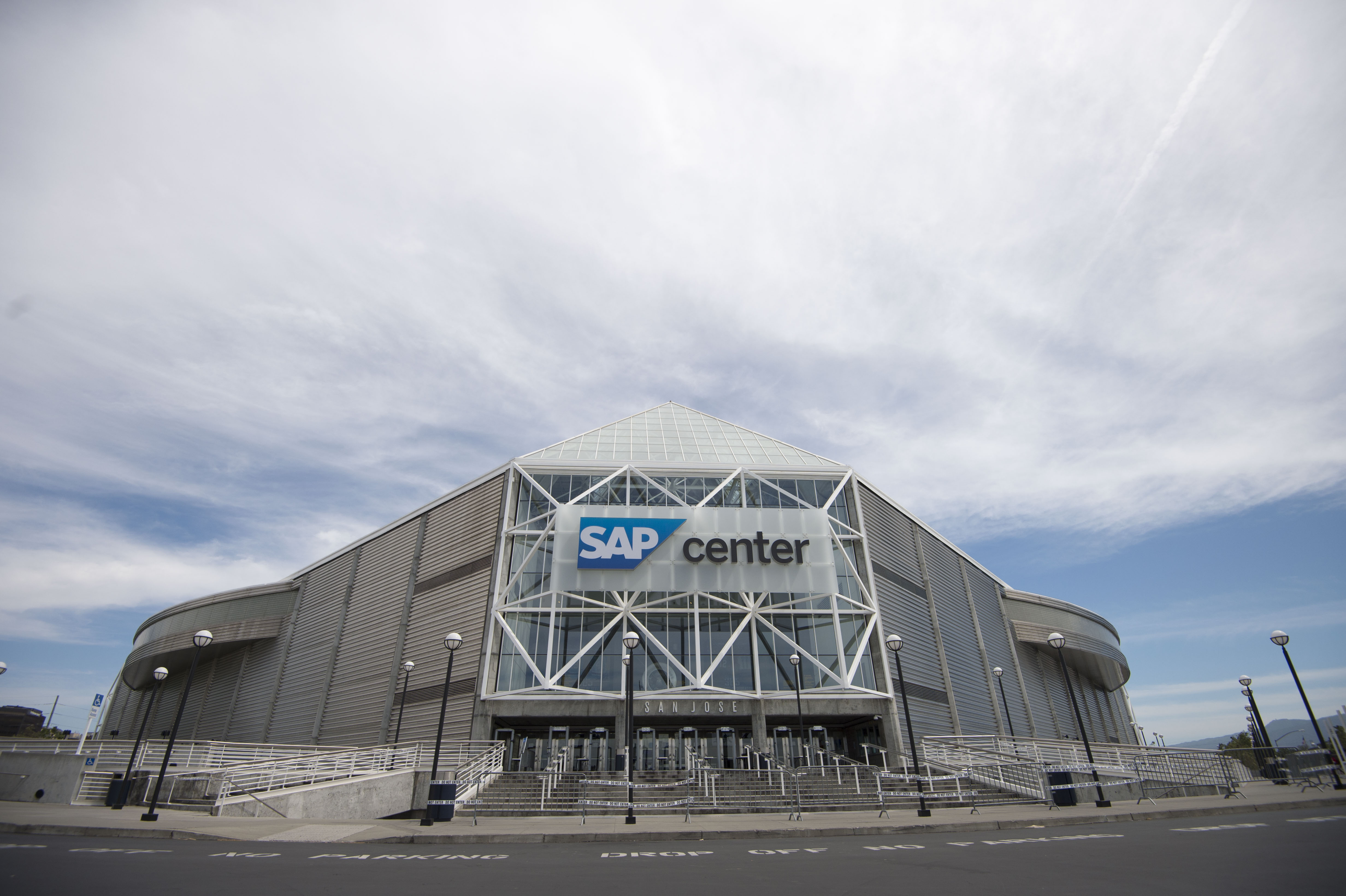 May 19, 2016; San Jose, CA, USA; General view of the exterior of SAP Center at San Jose before game three of the Western Conference Final of the 2016 Stanley Cup Playoffs between the San Jose Sharks and the St. Louis Blues at SAP Center at San Jose.
