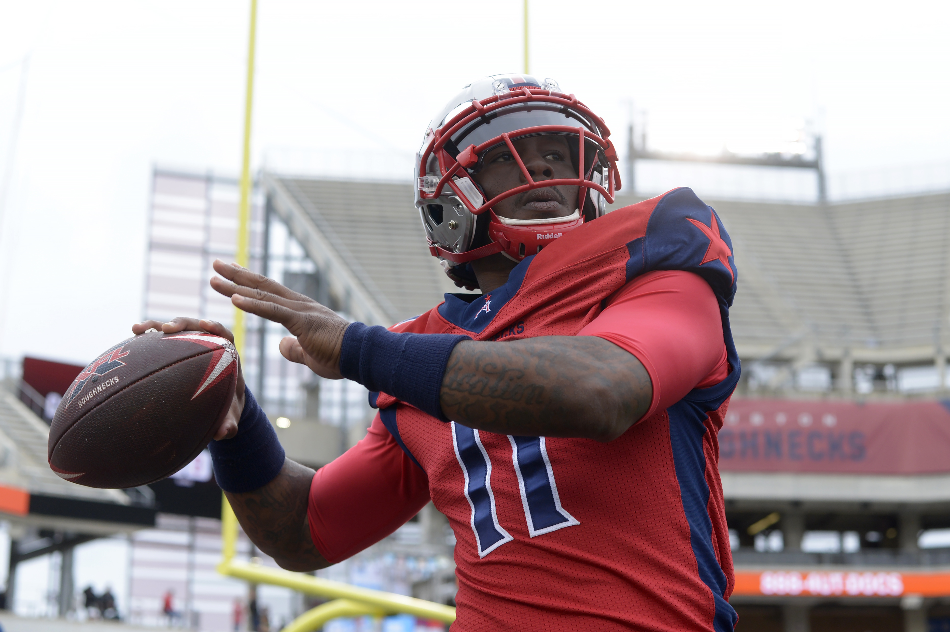 P.J. Walker #11 of the Houston Roughnecks warms up before the XFL game against the Seattle Dragons at TDECU Stadium on March 7, 2020 in Houston, Texas.
