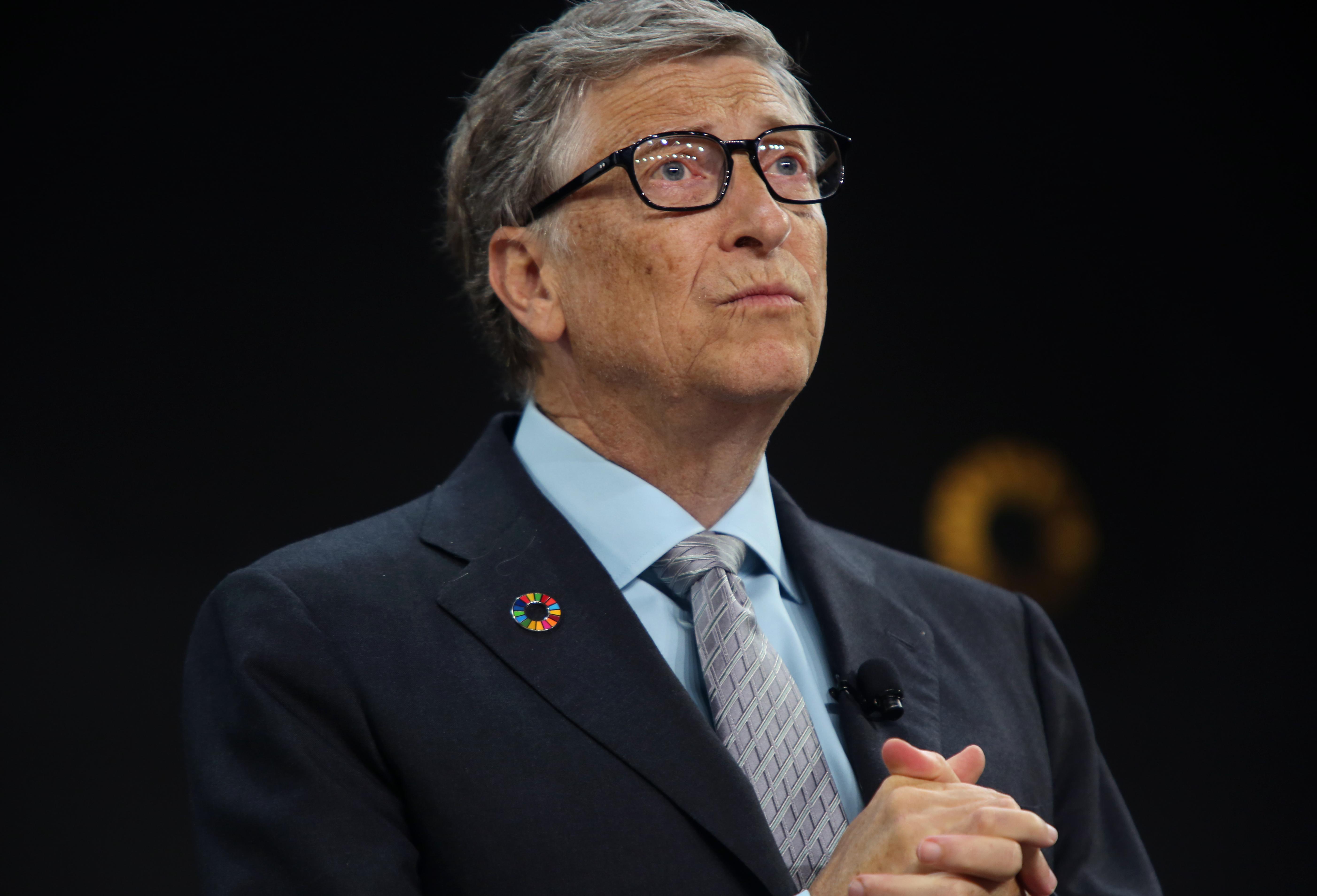 Bill Gates looks concerned.