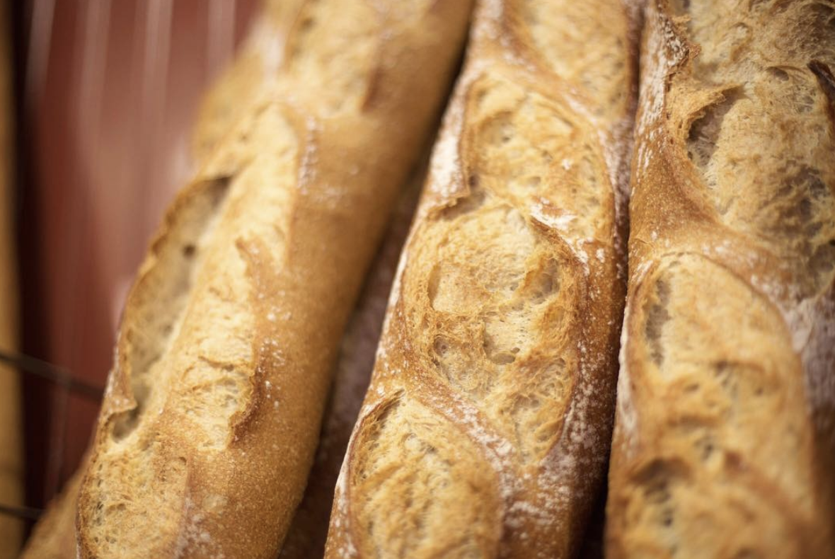Closeup of baguettes from Le Panier