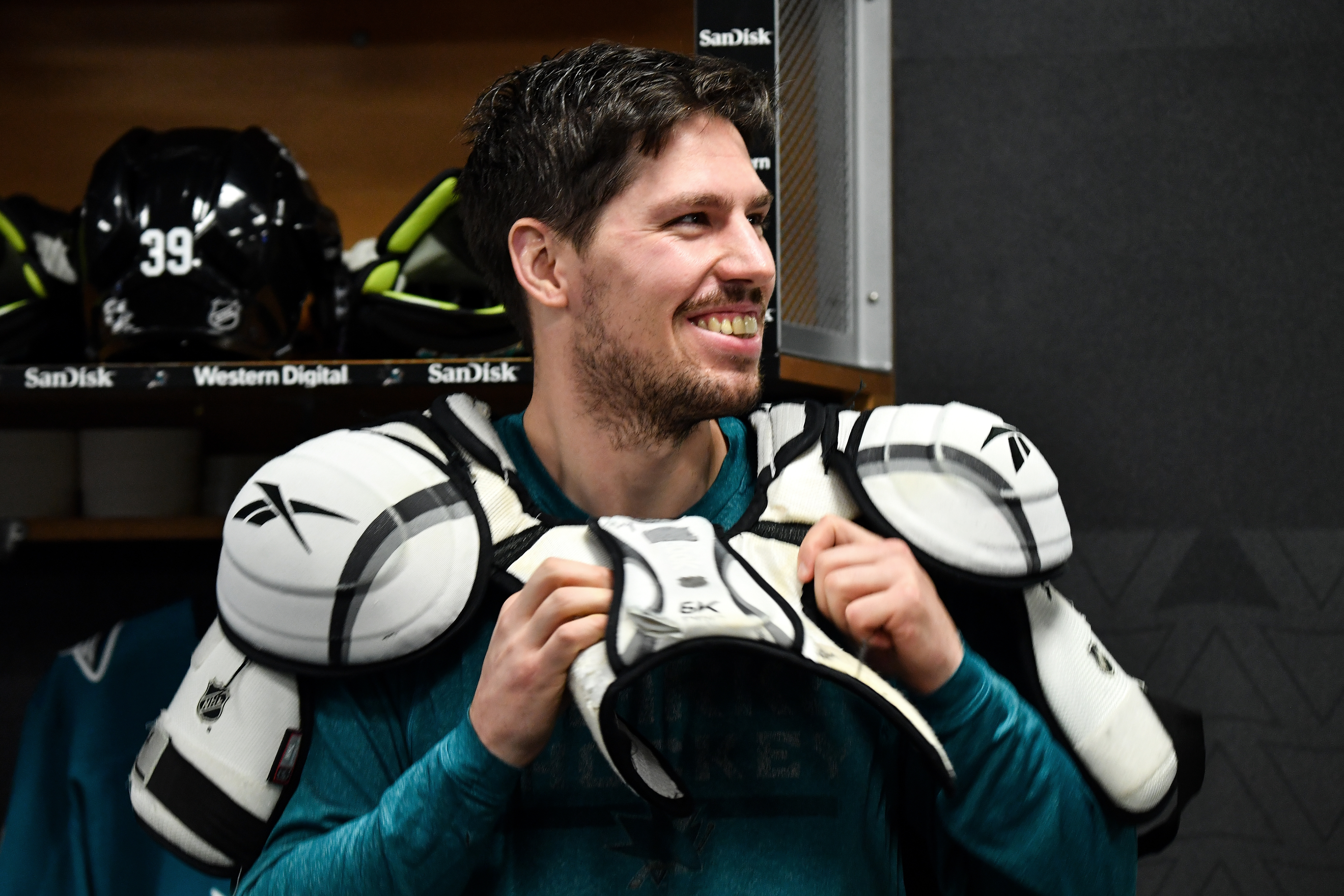 Logan Couture #39 of the San Jose Sharks prepares to take the ice for warmups in the locker room against the Ottawa Senators at SAP Center on March 7, 2020 in San Jose, California.Ottawa Senators v San Jose Sharks
