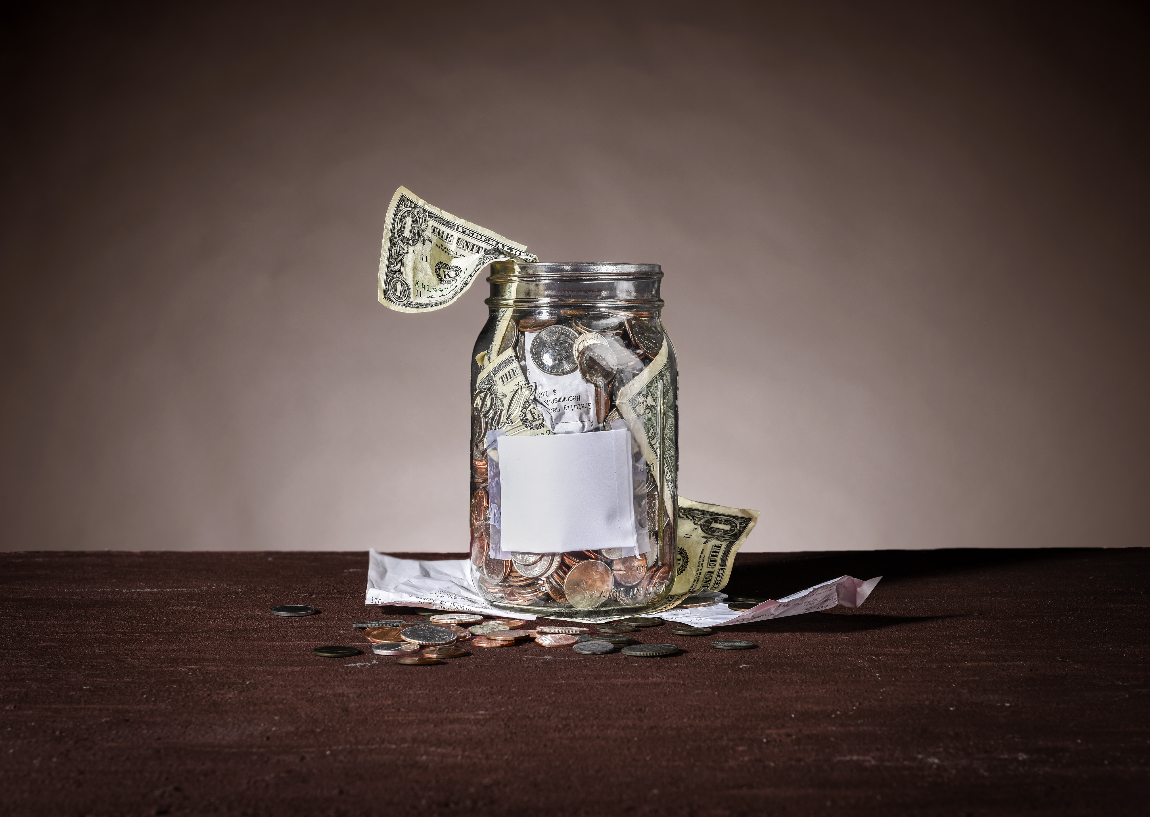Still life of a tip jar for our Weekend cover story on restaurant gratuities in Washington, DC.