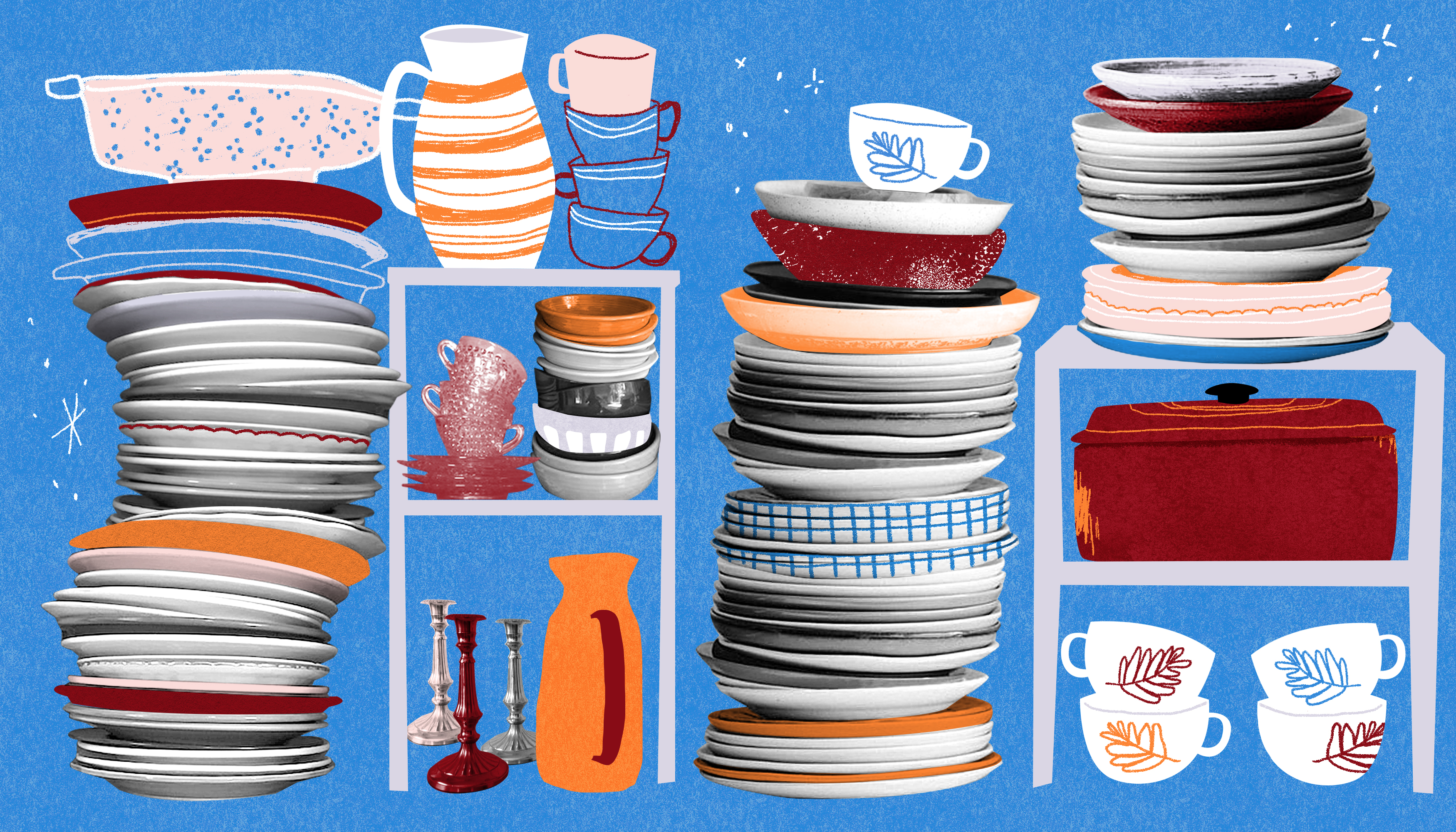 An illustration of orange, white, and red dishes stacked up. There is a blue background.