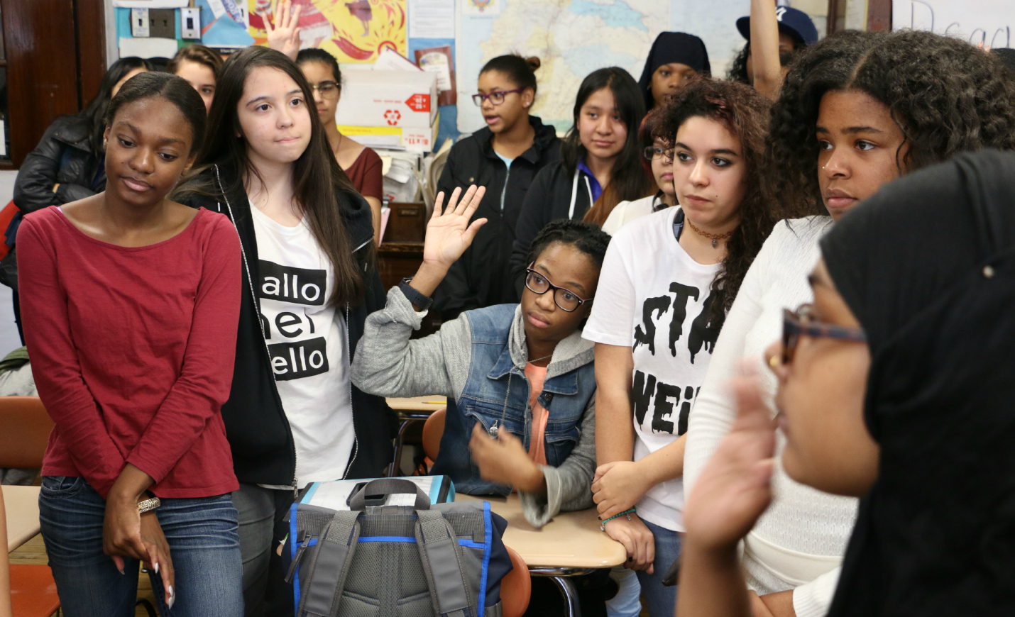 Students at the High School of Fashion Industries in 2015, when education department officials first announced the plan to pay for all juniors to take the SAT.