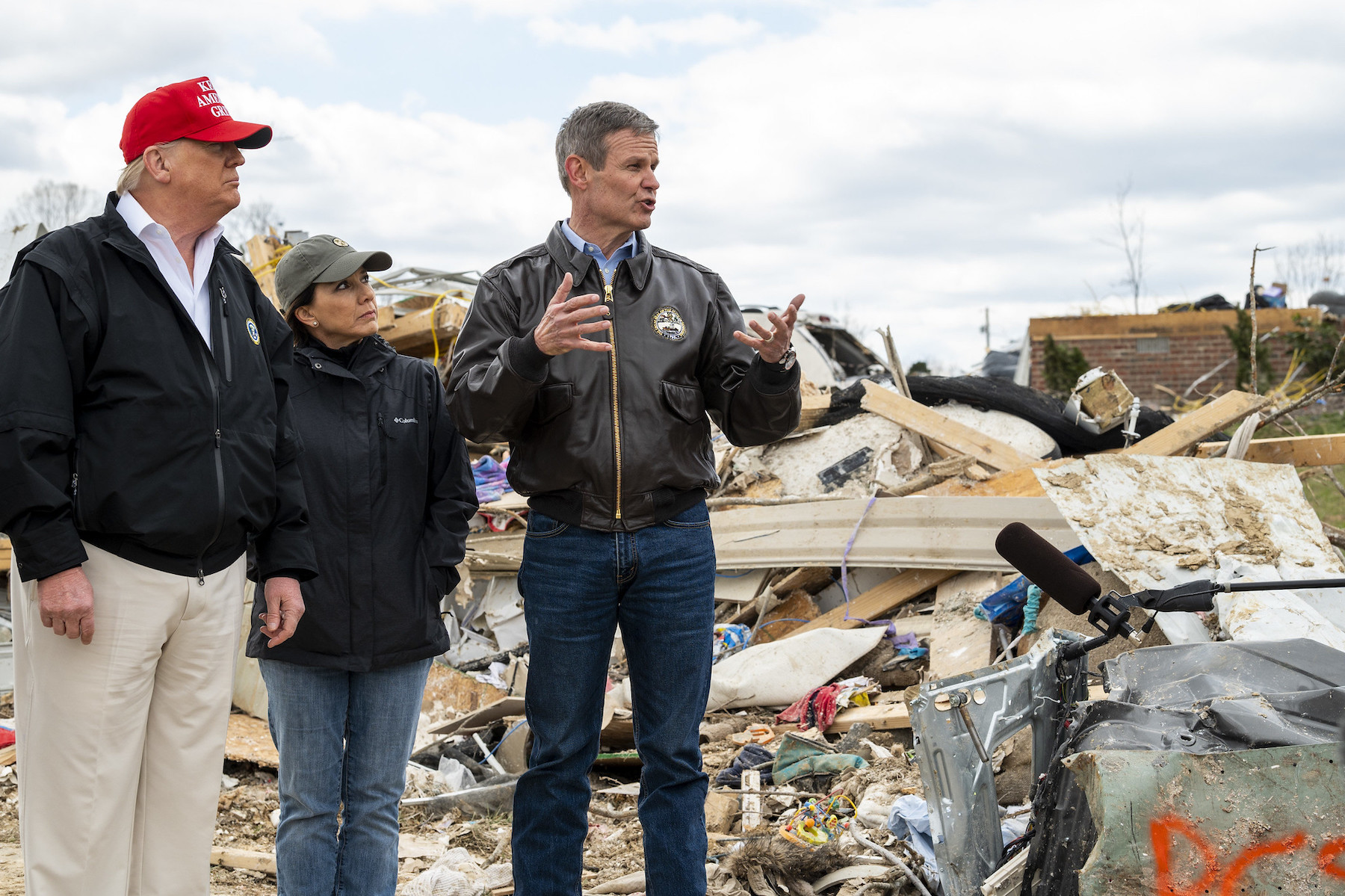 Gov. Bill Lee and his wife, Maria, join President Donald Trump on a March 6 tour of damage caused when tornadoes thrashed parts of Middle Tennessee on March 4.