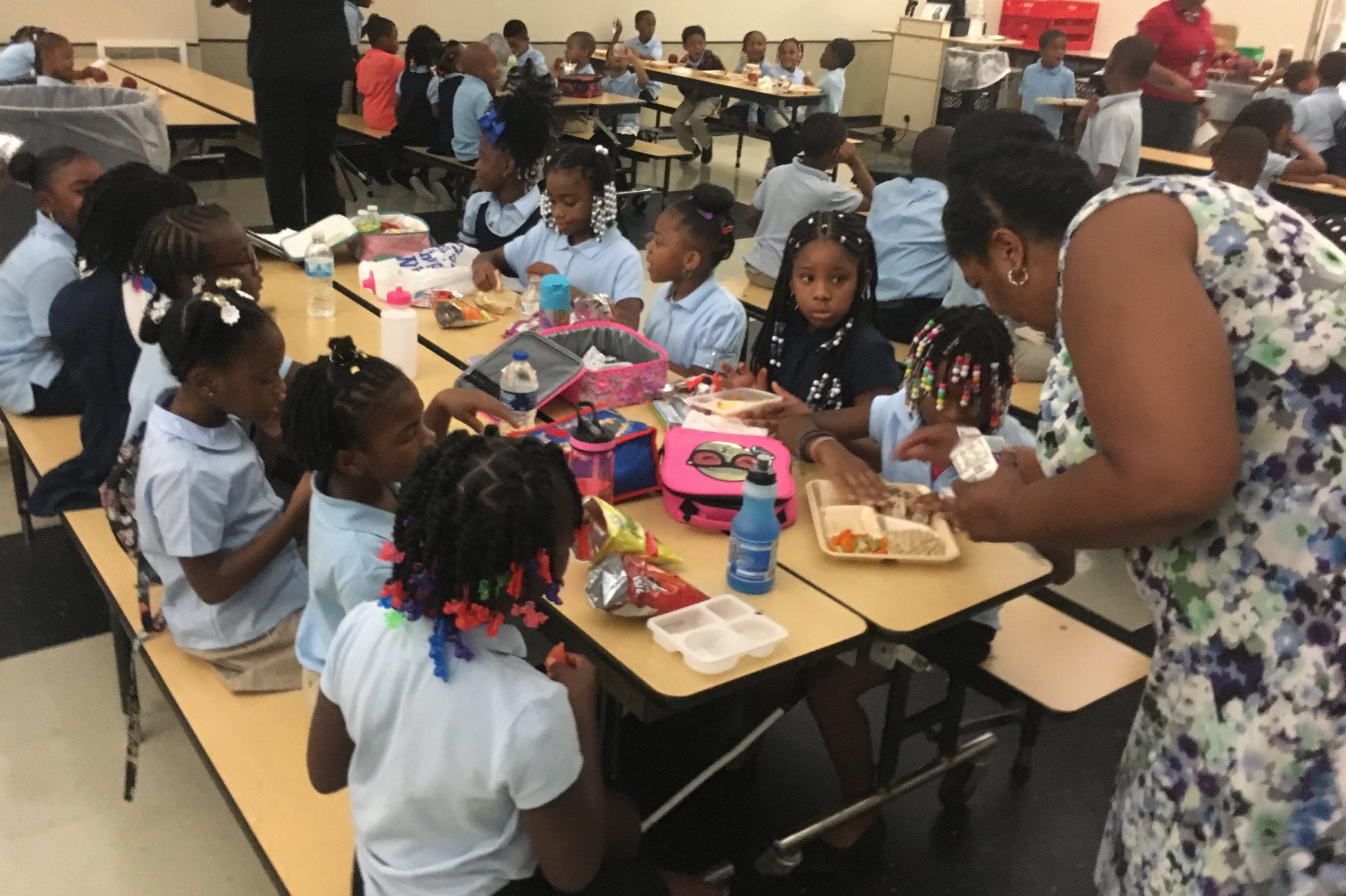 Students in the lunchroom at Golightly Education Center in Detroit. Some students do not get enough to eat at home, so many districts will distribute breakfast and lunch to students while schools are closed.