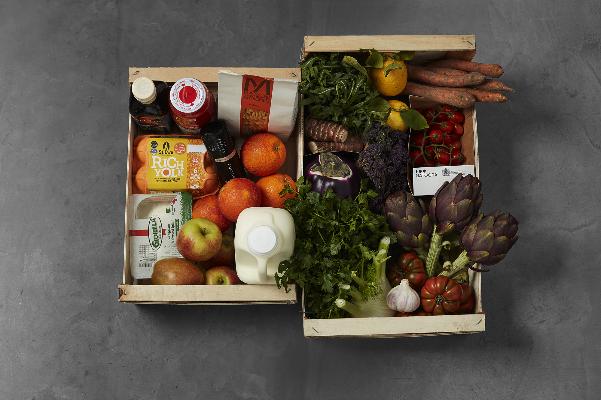 A box of fruit, vegetables, pasta, milk, and eggs