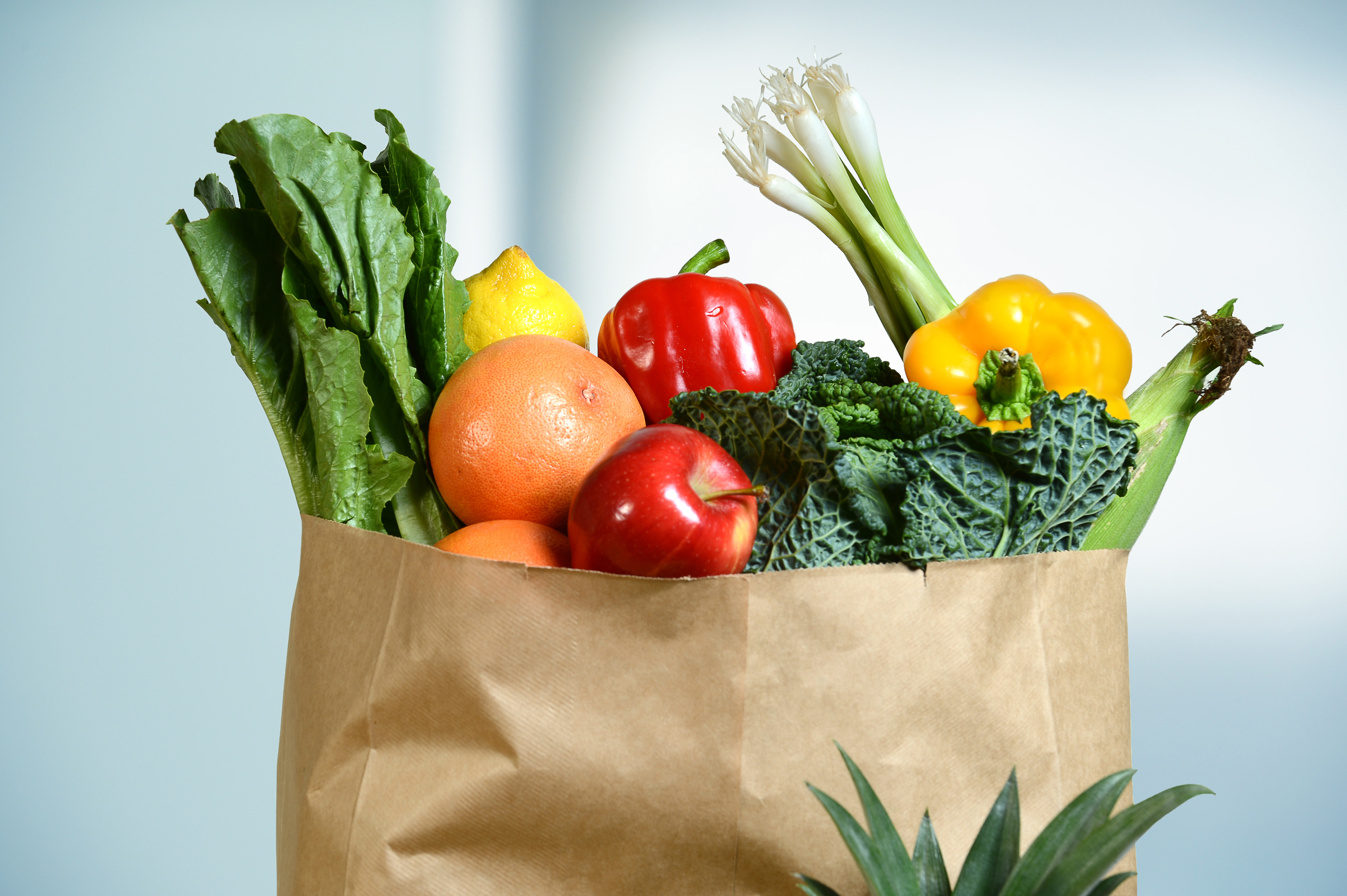 A brown paper bag full of fresh fruits and vegetables is isolated on a light background