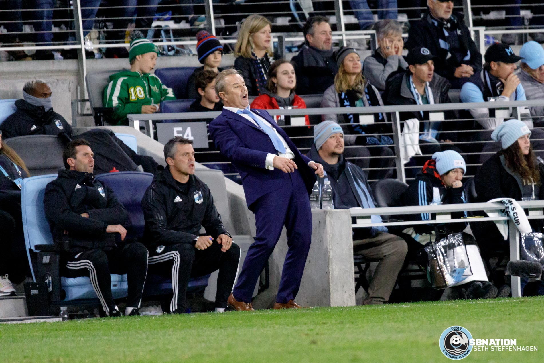 October 20, 2019 - Saint Paul, Minnesota, United States - Minnesota United head coach Adrian Heath reacts to a moment during the first round playoff match against the LA Galaxy at Allianz Field.