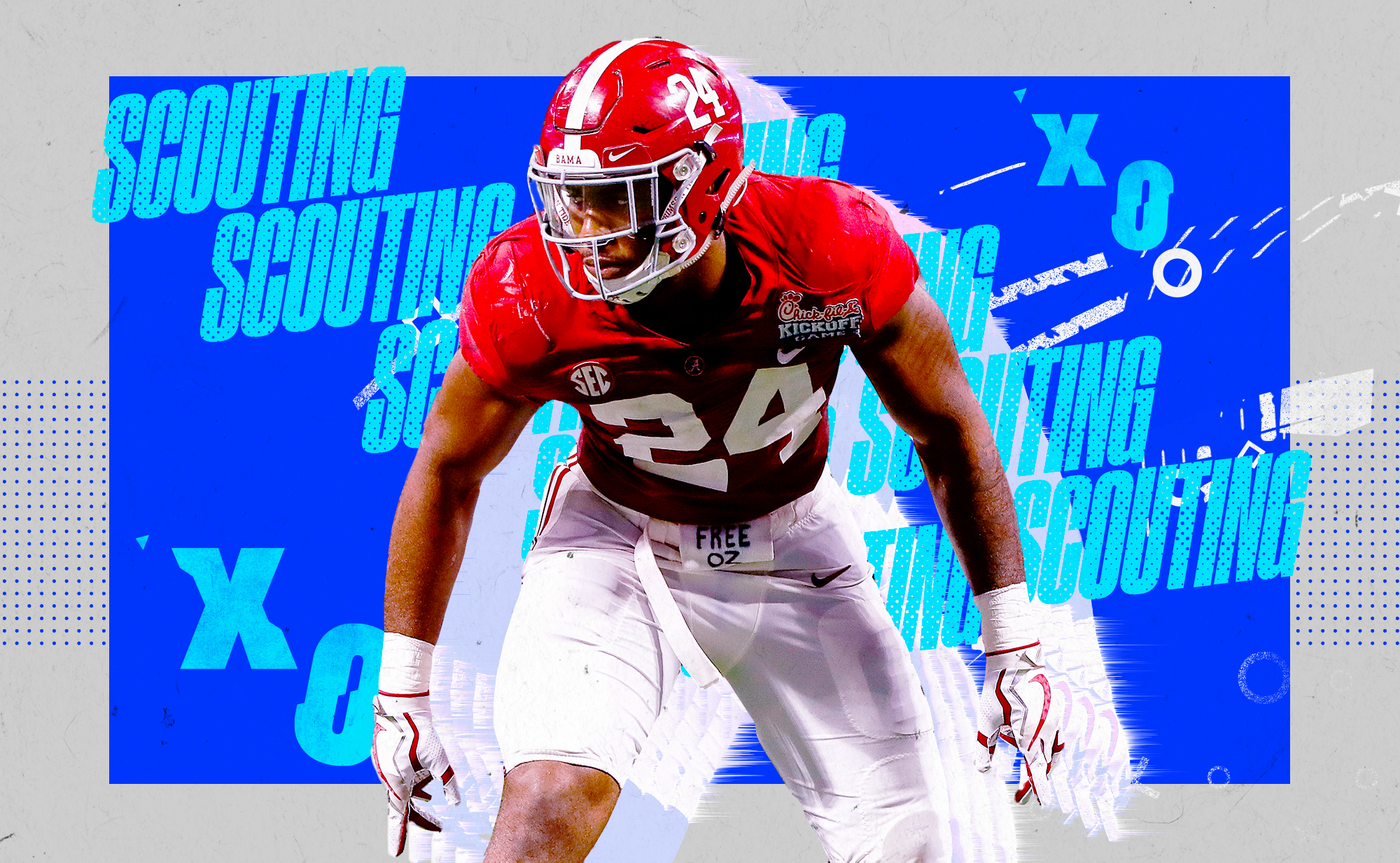 """An illustration of NFL edge prospect Terrell Lewis in a stance at Alabama, superimposed on a blue and white background with """"SCOUTING"""" and """"X""""s and """"O""""s in aqua lettering"""
