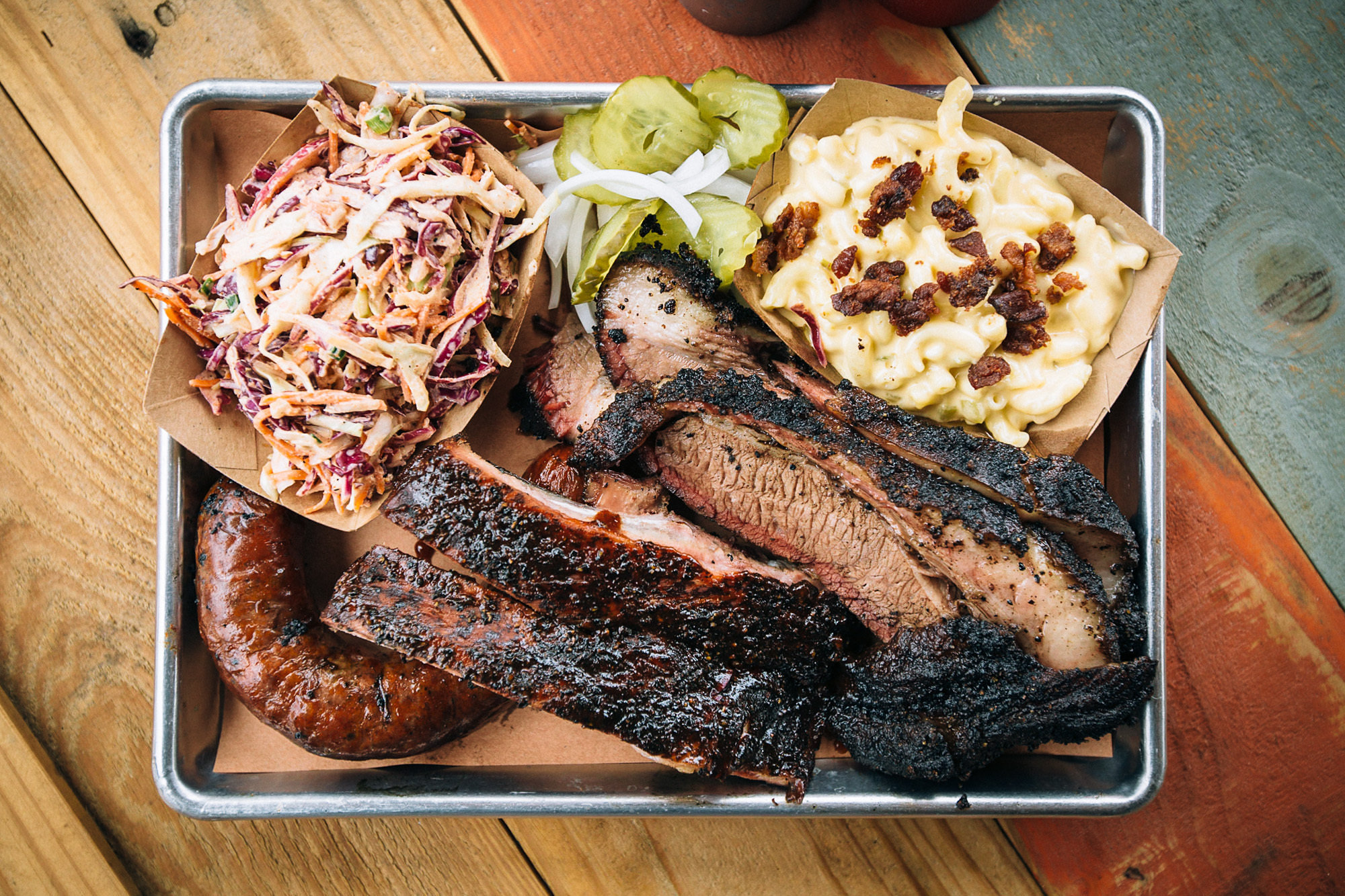 A bountiful barbecue platter at Pecan Lodge