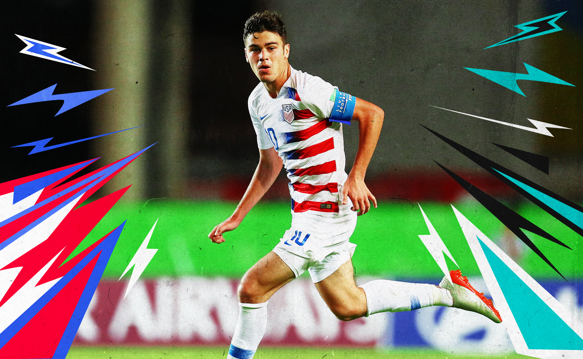 Photo of Giovanni Reyna running during a game while wearing a USMNT uniform. He is surrounded by graphic lightning bolts.