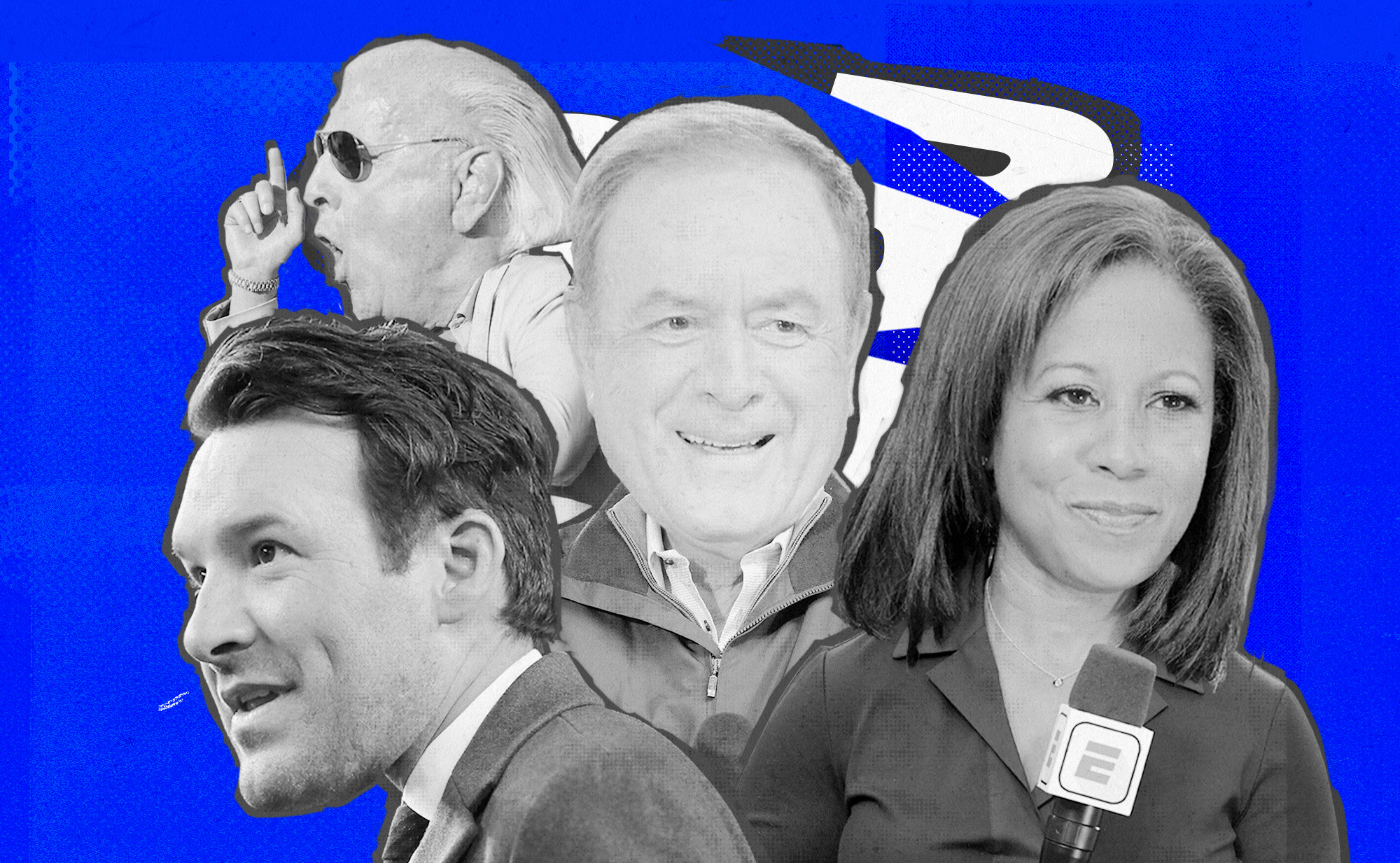 An art collage of Al Michaels, Lisa Salters, Tony Romo, Ric Flair, superimposed on a blue background with black and white graphics