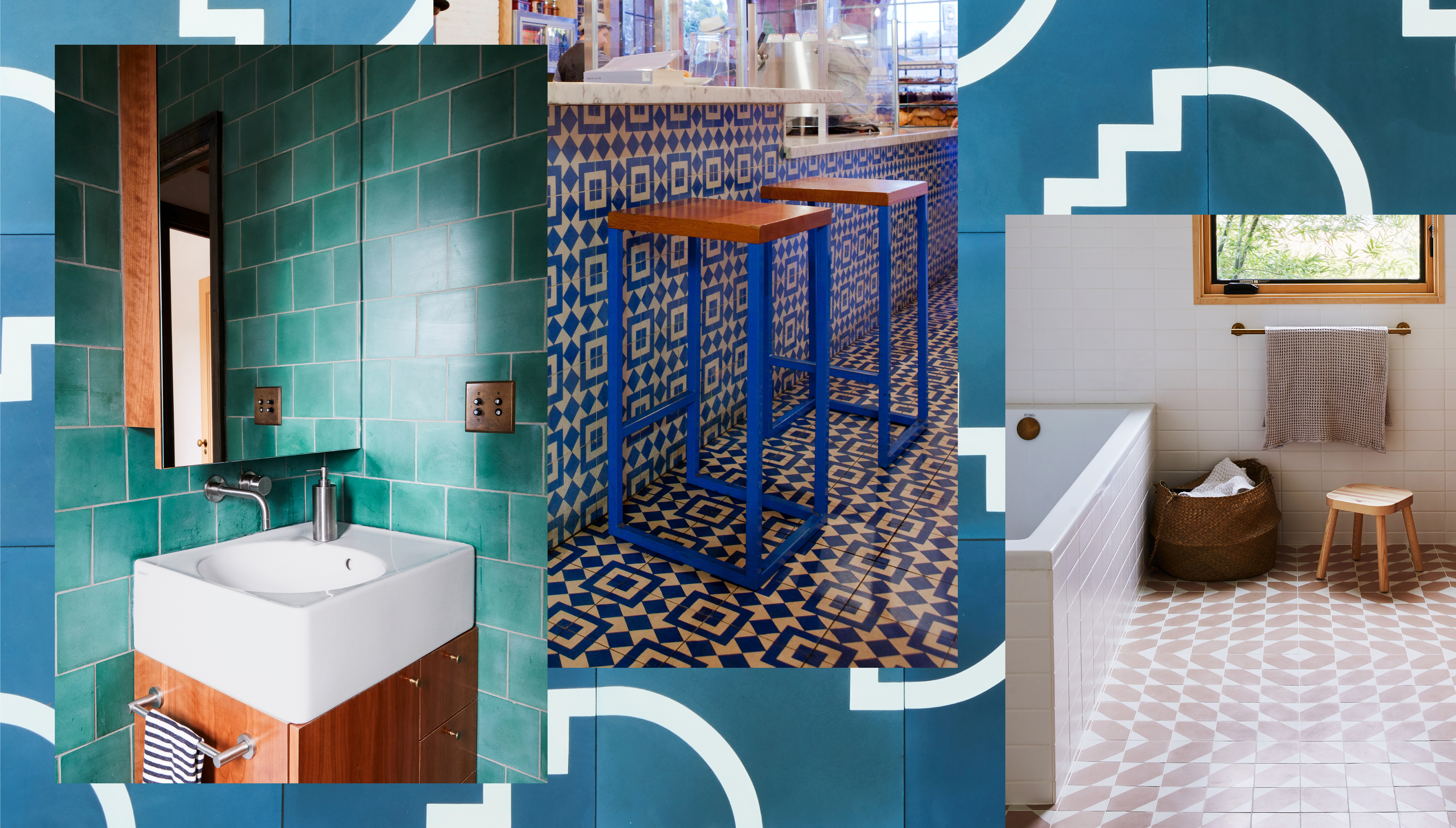 A collage of rooms with tile