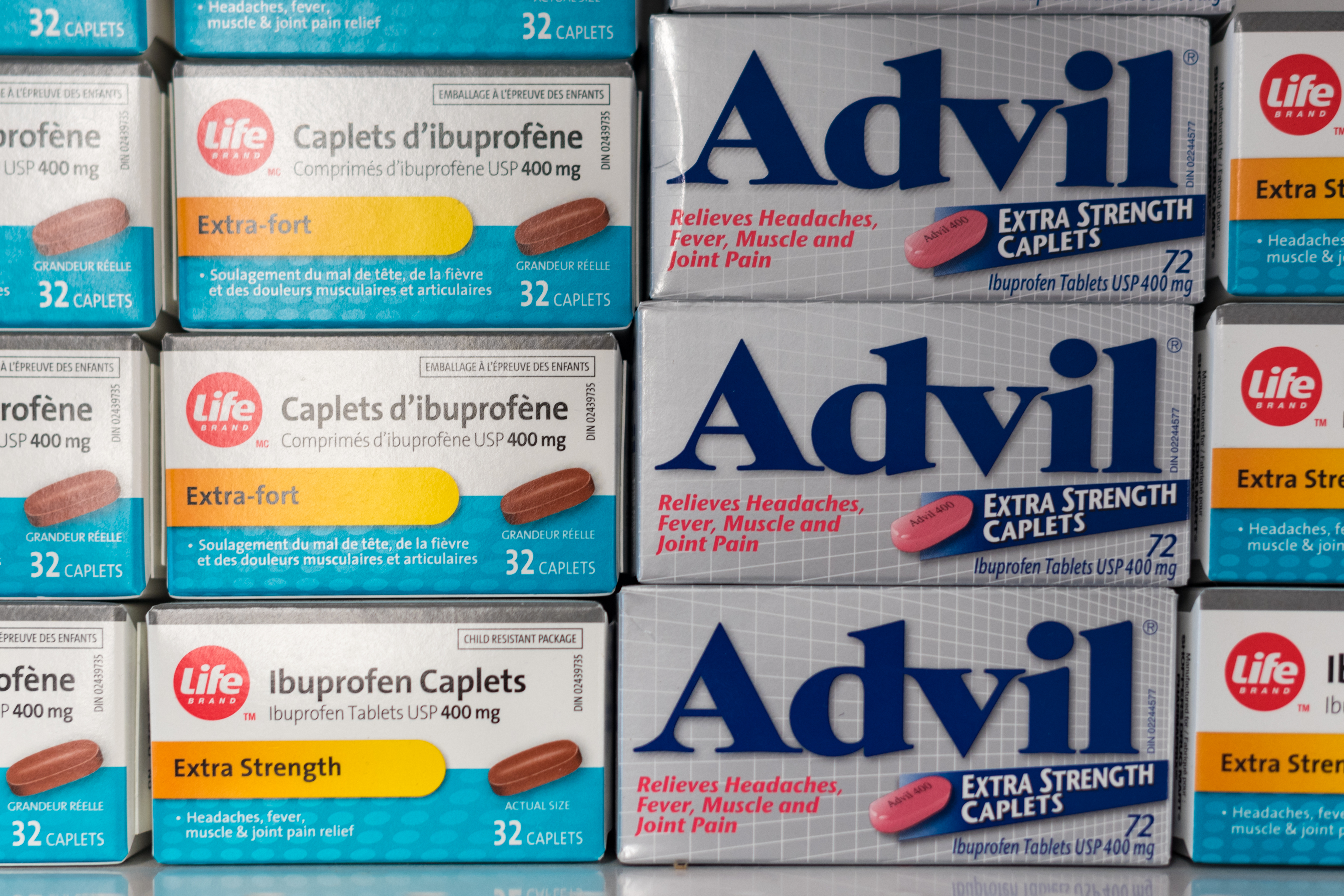 Advil and Life companies' medicine boxes on display at...