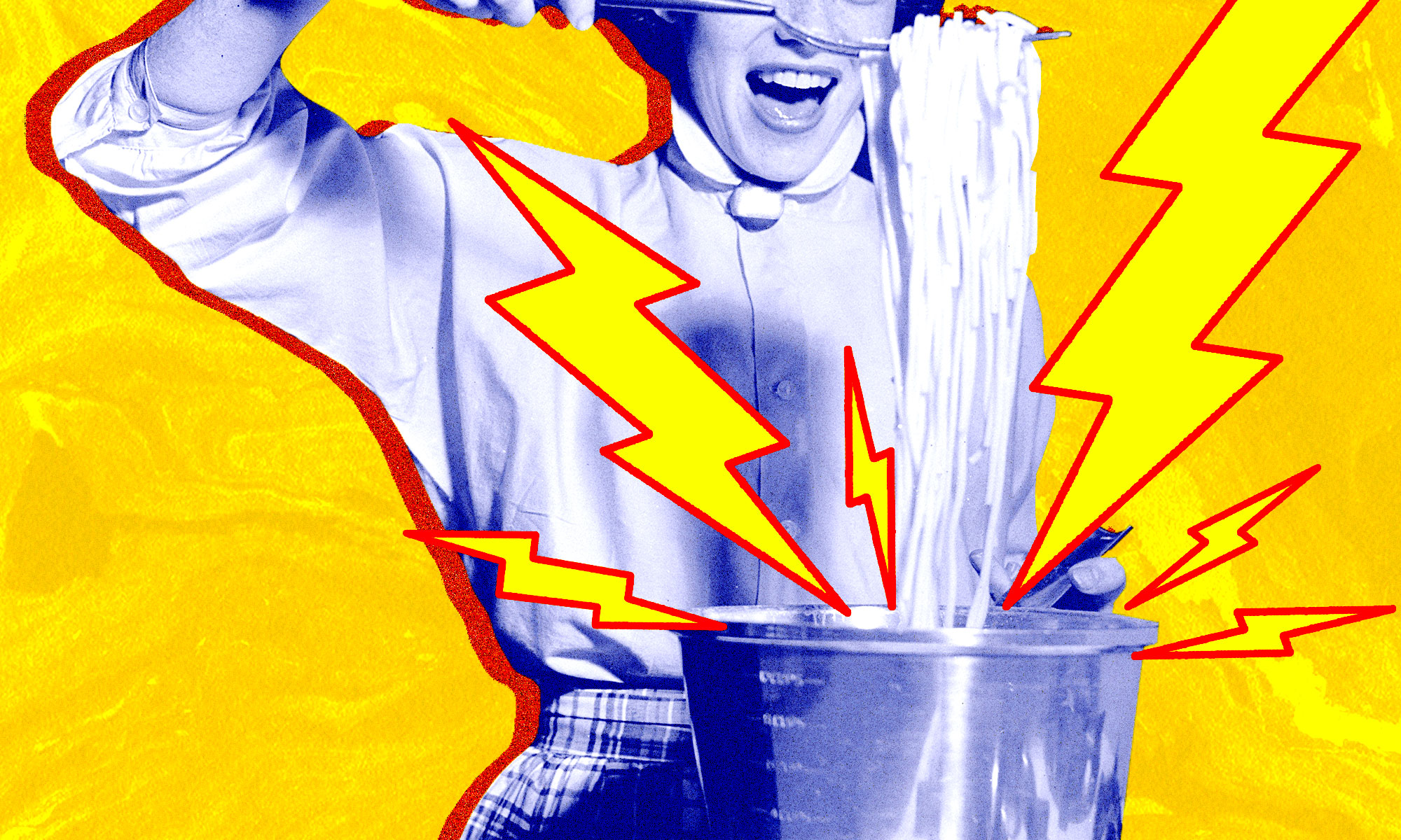A retro housewife pulls a bunch of spaghetti out of a pot.