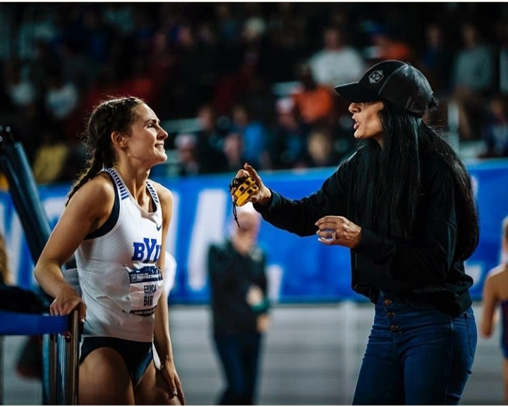 BYU athlete Erica Birk-Jarvis confers with coach Diljeet Taylor during a recent indoor track meet. Birk-Jarvis and other BYU seniors have to decide whether they will return to school for an additional year of eligibility after their season was canceled due to the COVID-19 outbreak.