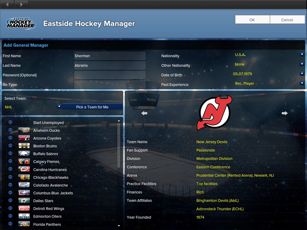 Sherman Abrams takes control of the 2019-20 New Jersey Devils in Eastside Hockey Manager