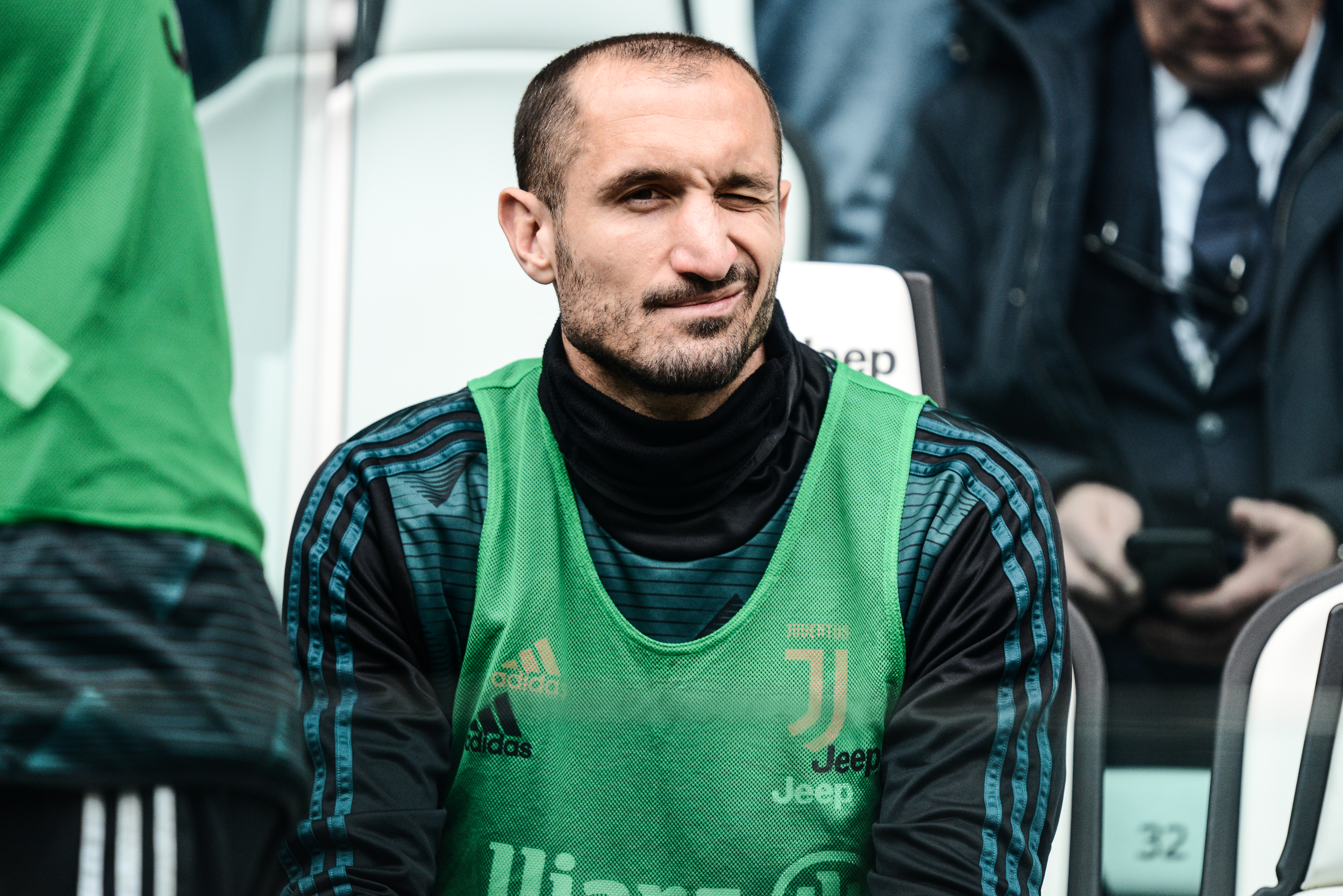 Giorgio Chiellini of Juventus FC looks on before the Serie...