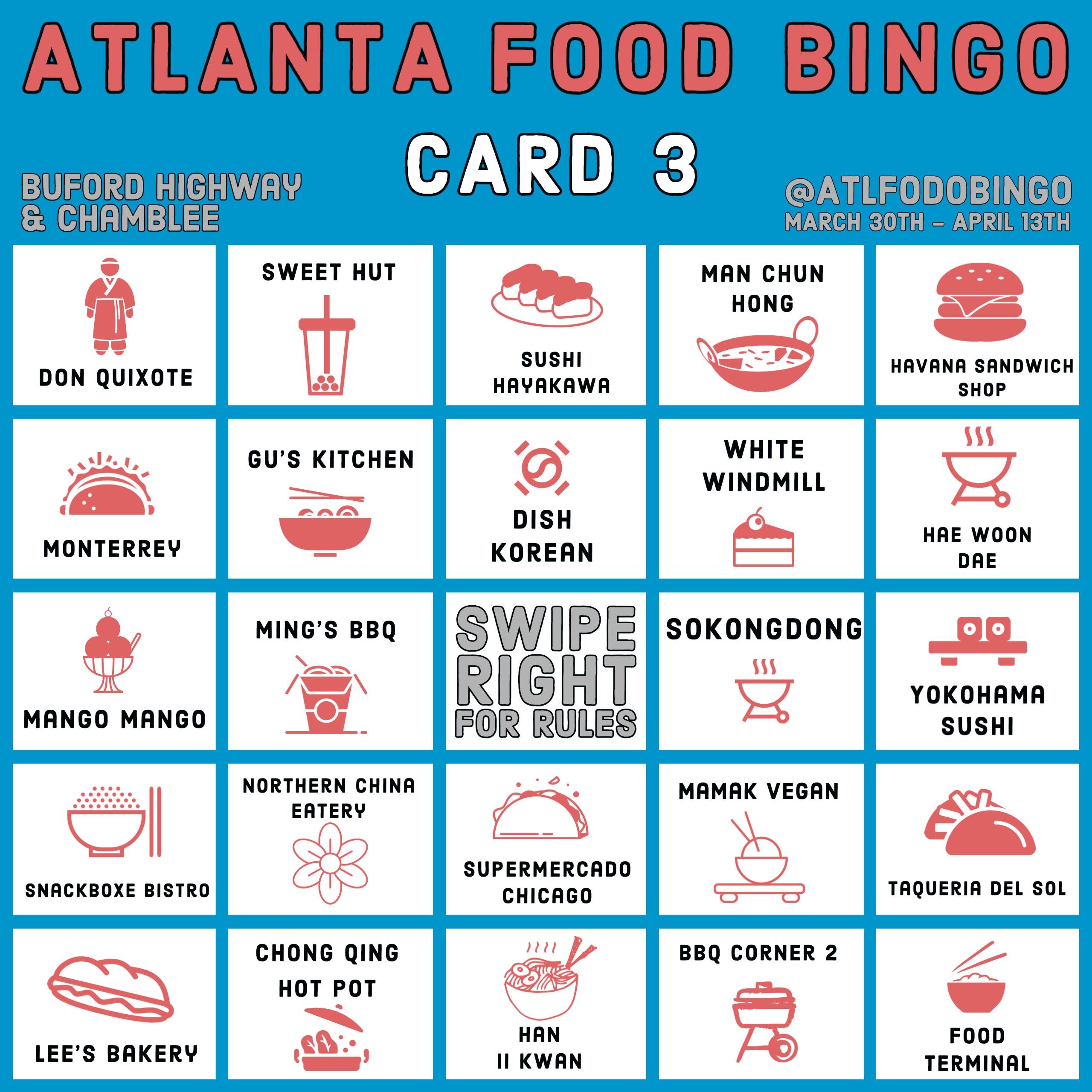 Buford Highway and Chamblee Atlanta food bingo card