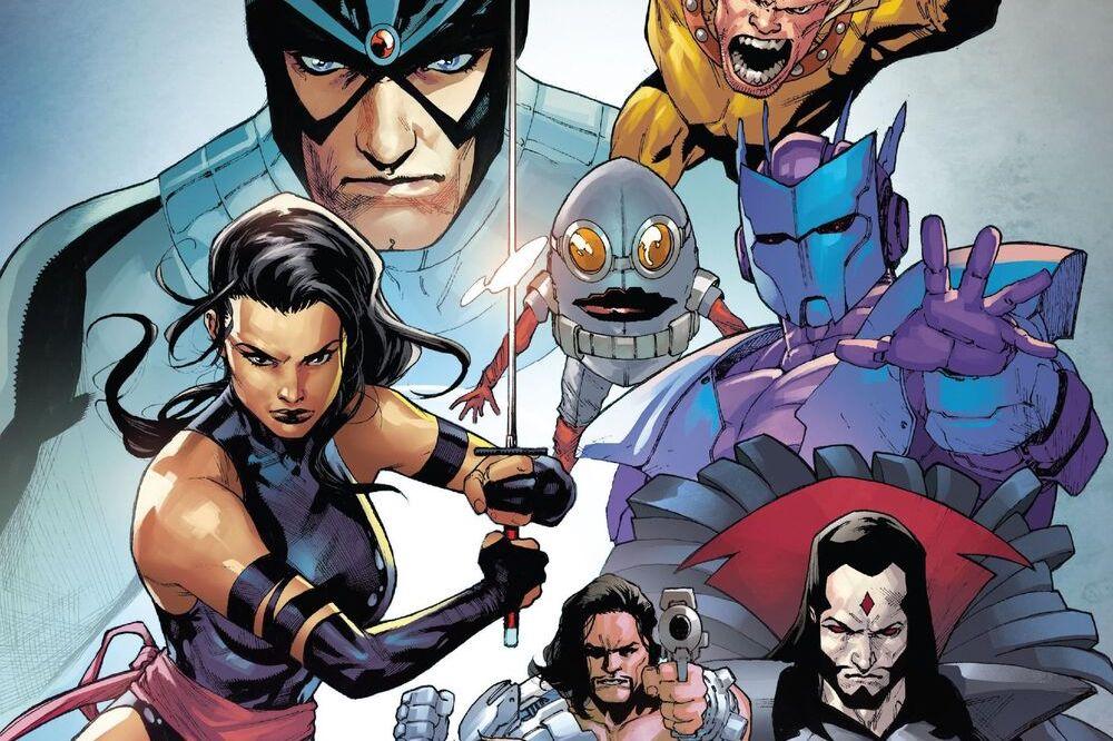 Havok, Wild Child, Psylocke, Nanny, Orphan-Maker, and Mister Sinister on the cover of Hellions #1, Marvel Comics (2020).