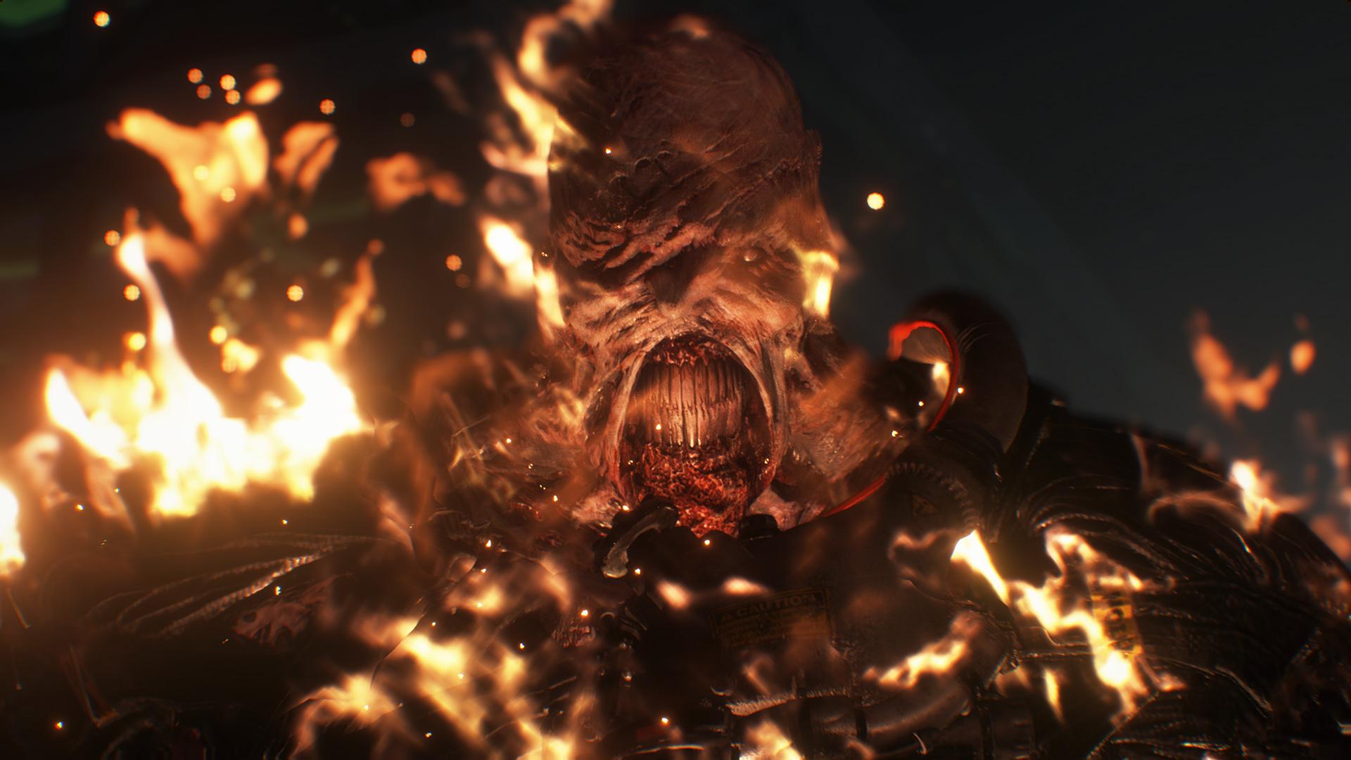 Resident Evil 3 Remake Nemesis on fire