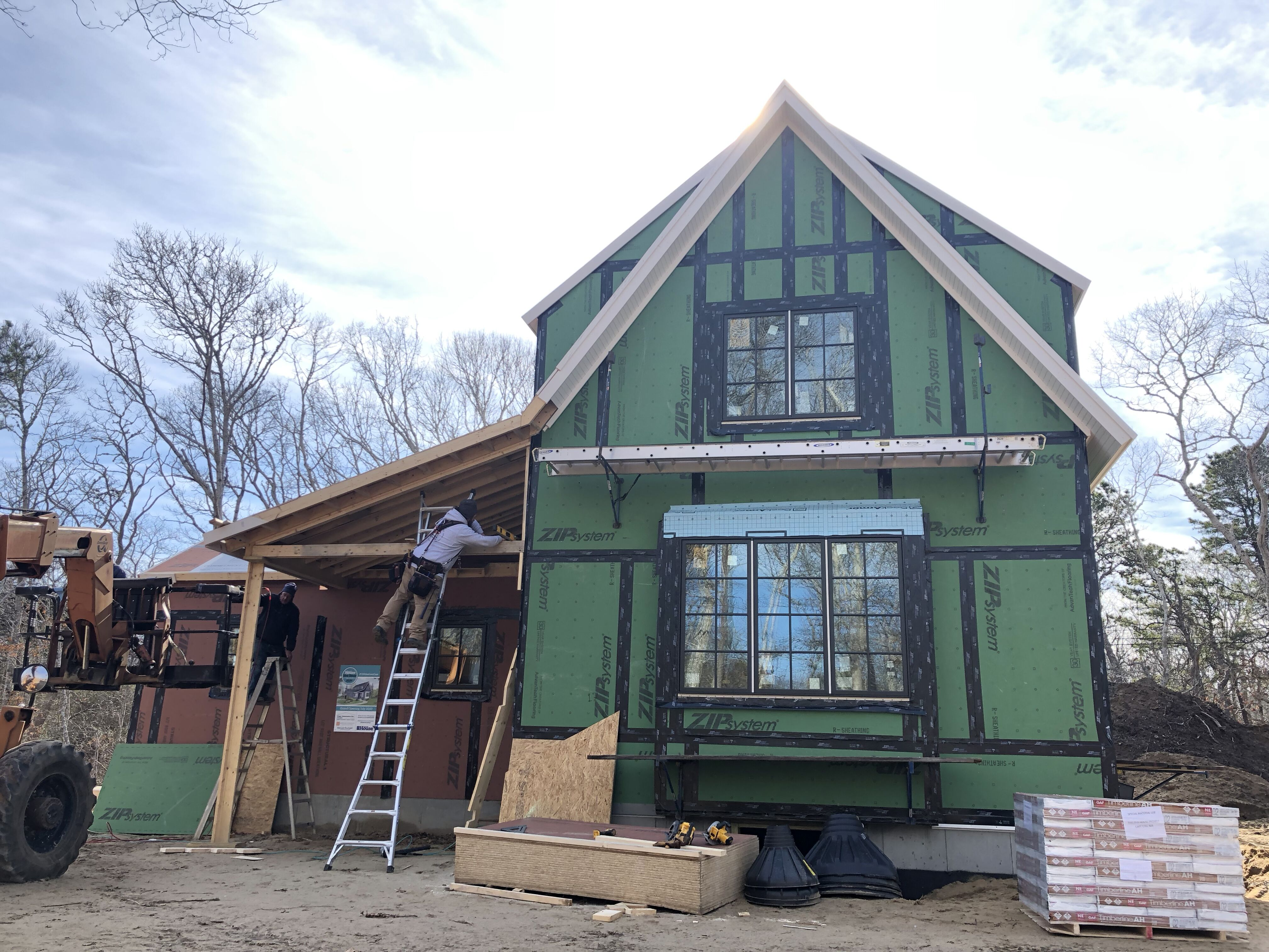 Entry porch taking shape at the TOH 2020 Idea House on the Cape