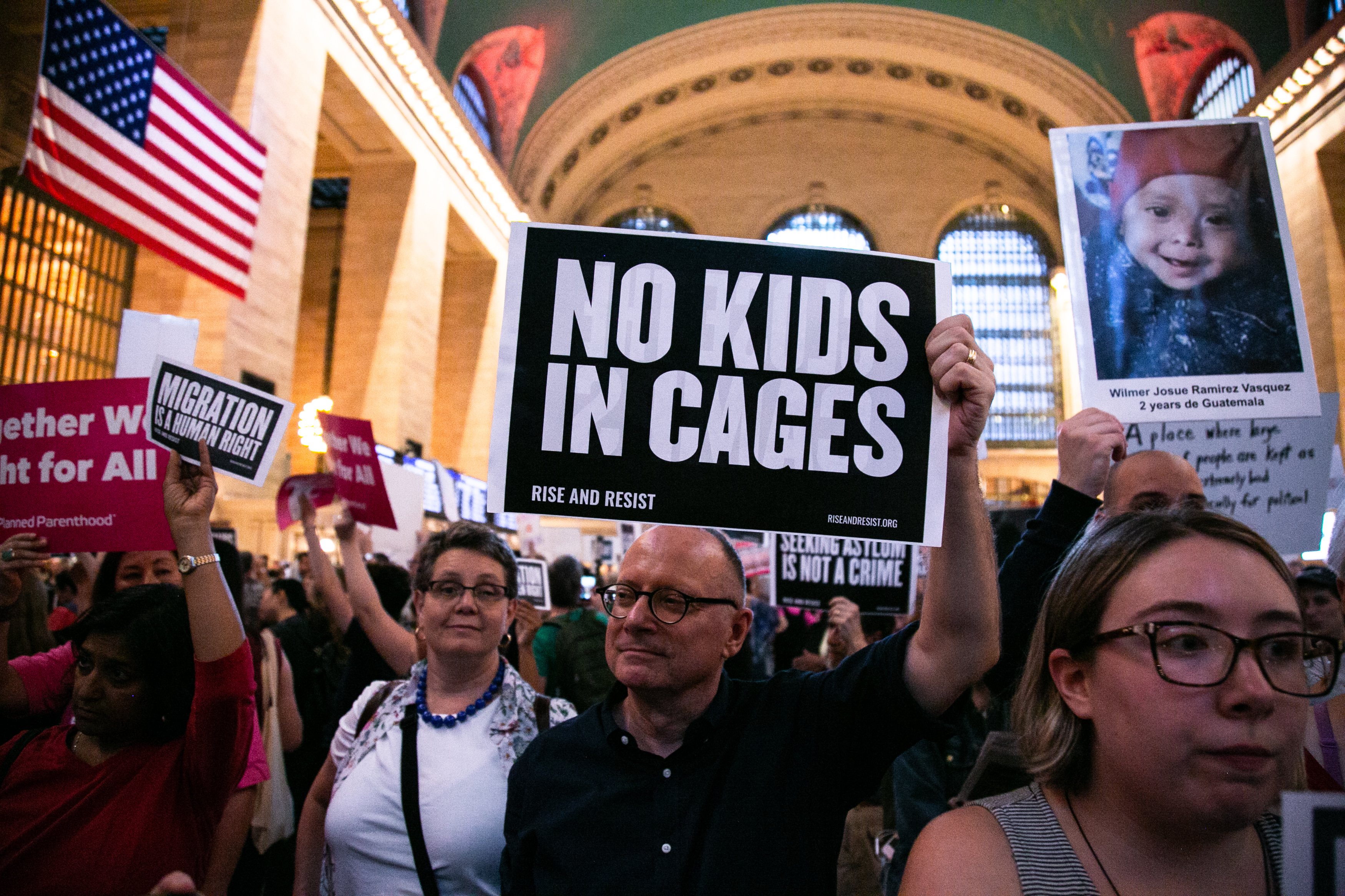 Hundreds of people protest at New York's Grand Central Terminal