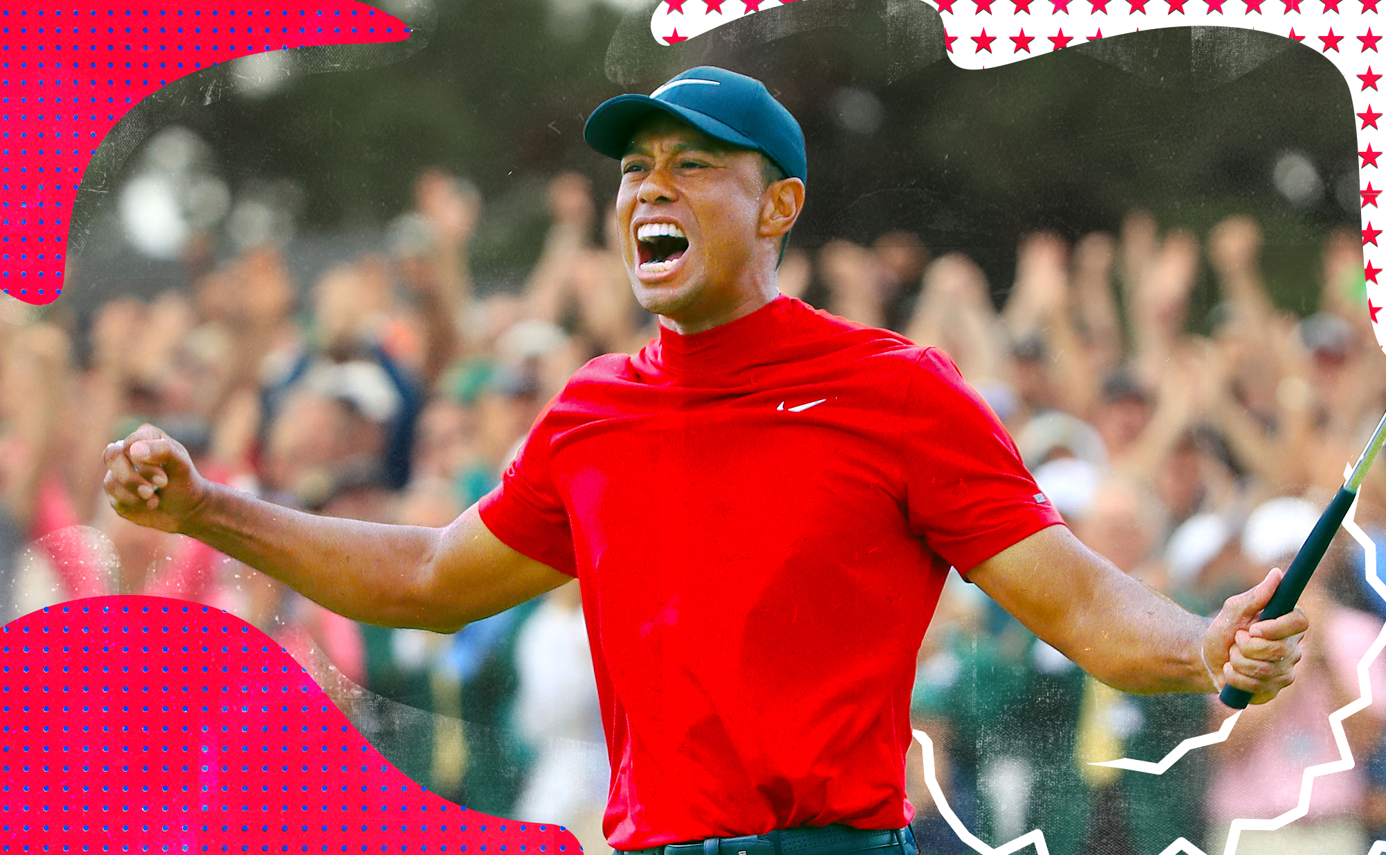 Tiger Woods celebrating with a golf club in hand while wearing his iconic red Nike pullover.