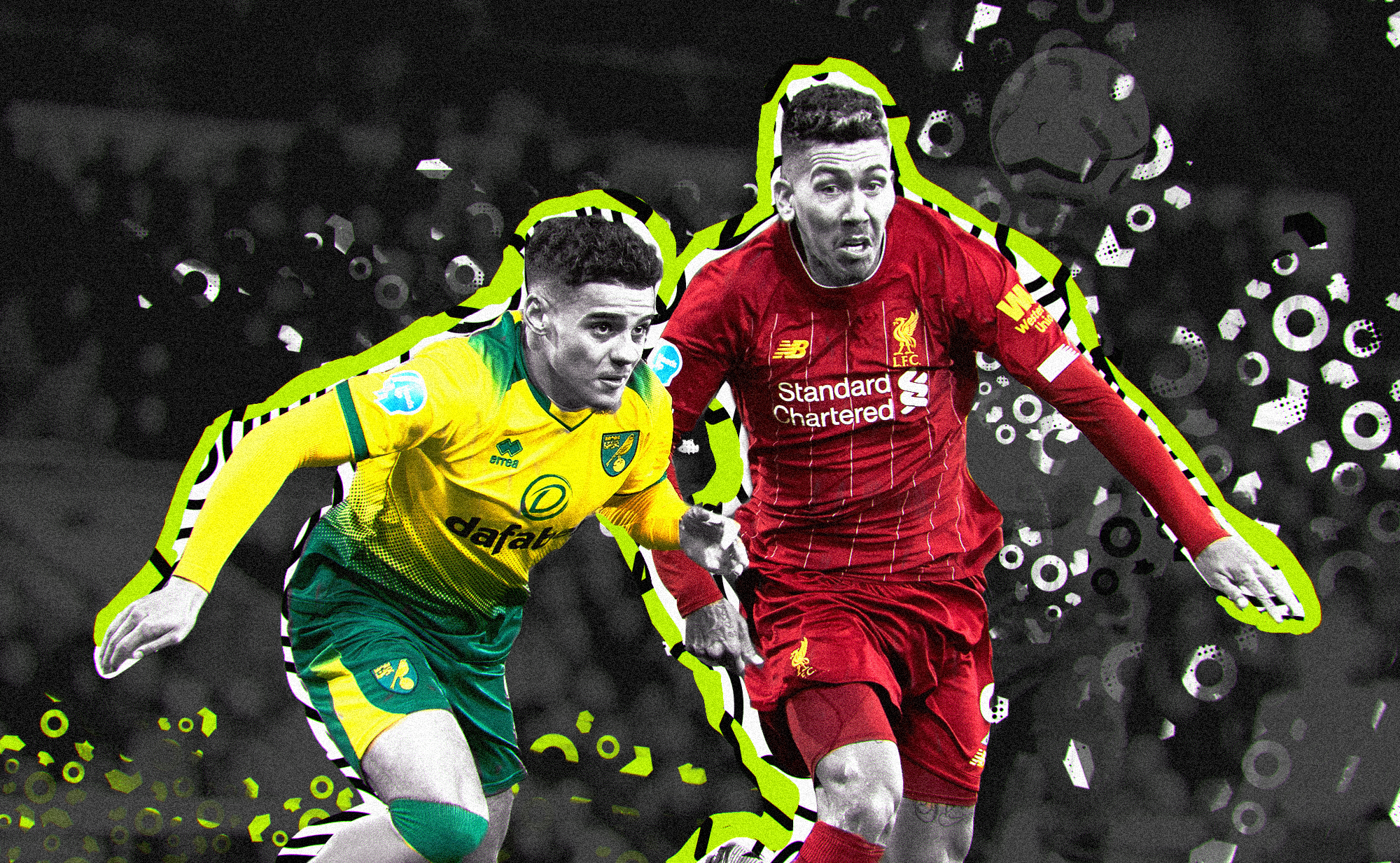 Roberto Firmino edging out a Norwich City defender for a ball. Their faces are in black and white while their kits are in color. The art style on the photo is pop/urban.