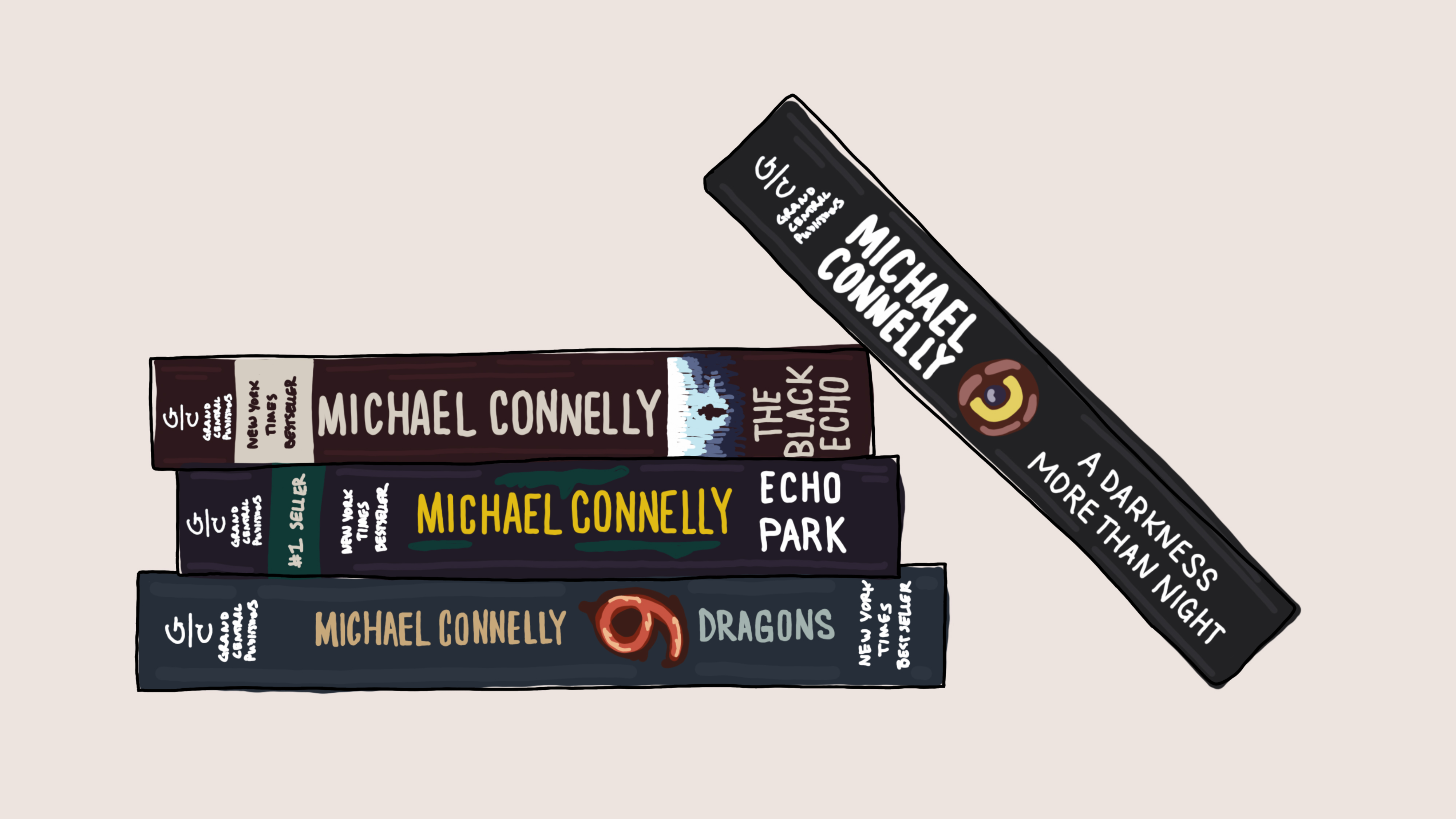 A stack of Michael Connelly paperback books.