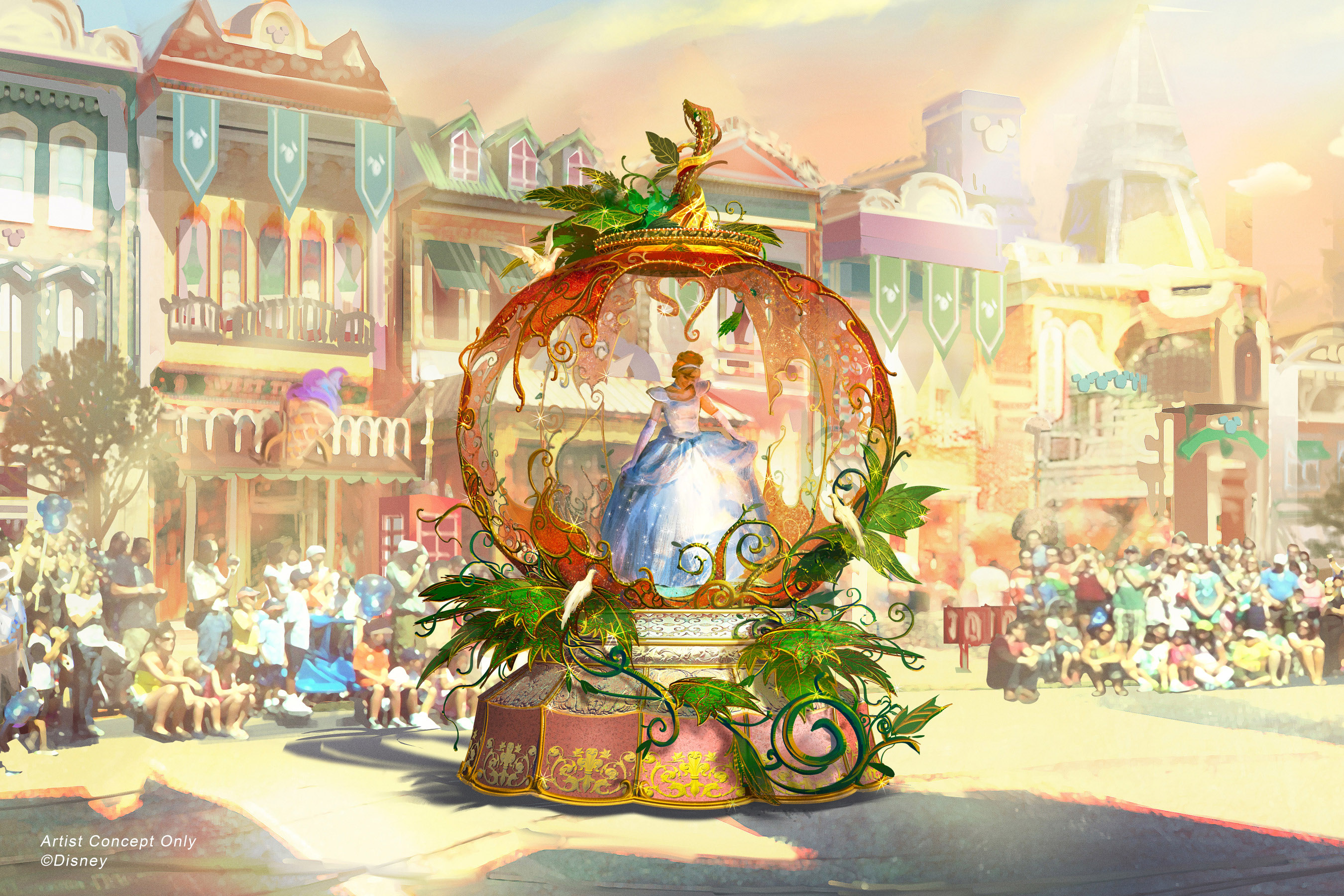 """Set to debut Feb. 28, 2020, at Disneyland Park in California, the new """"Magic Happens"""" parade will celebrate the awe-inspiring moments of magic that are at the heart of so many Disney stories. This new daytime spectacular will feature stunning floats, beautiful costumes, and beloved Disney characters. Depicted in this image, Cinderella is seen inside a grand pumpkin, just as it magically transforms into a glistening carriage to whisk her off to the ball. (Disney)"""