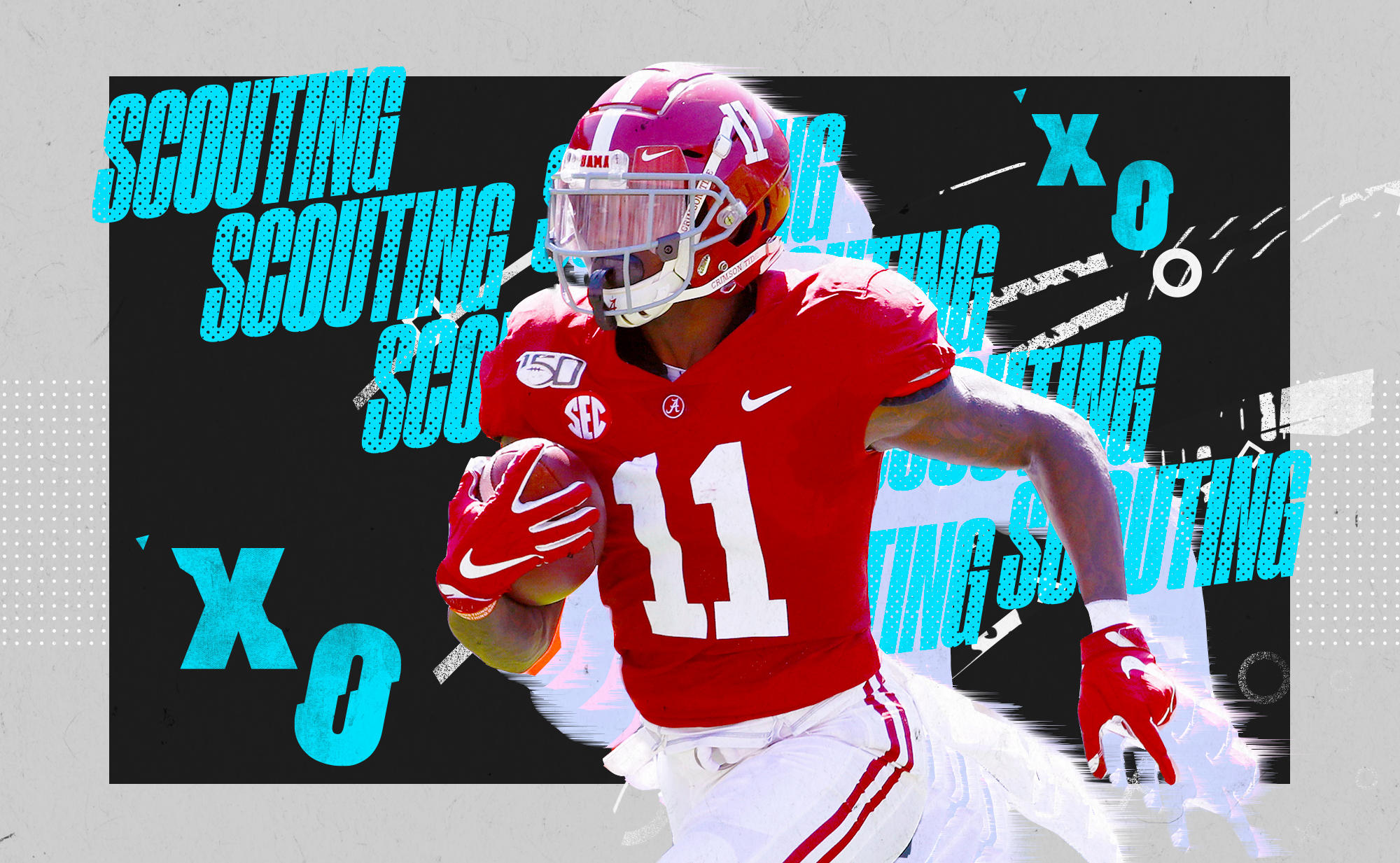 """An illustration of NFL WR prospect Henry Ruggs III running with the football at Alabama, superimposed on a blue and white background with """"SCOUTING"""" and """"X""""s and """"O""""s in aqua lettering"""