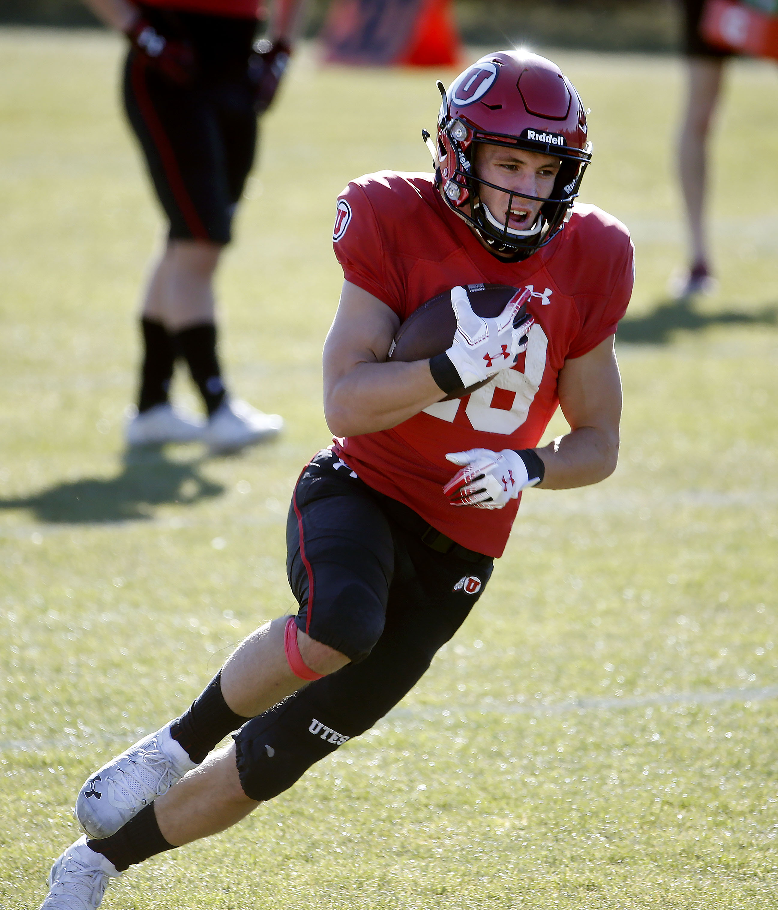 Utah Utes wide receiver Britain Covey (18) practices at the Spence and Cleone Eccles Football Center in Salt Lake City on Thursday, March 5, 2020.
