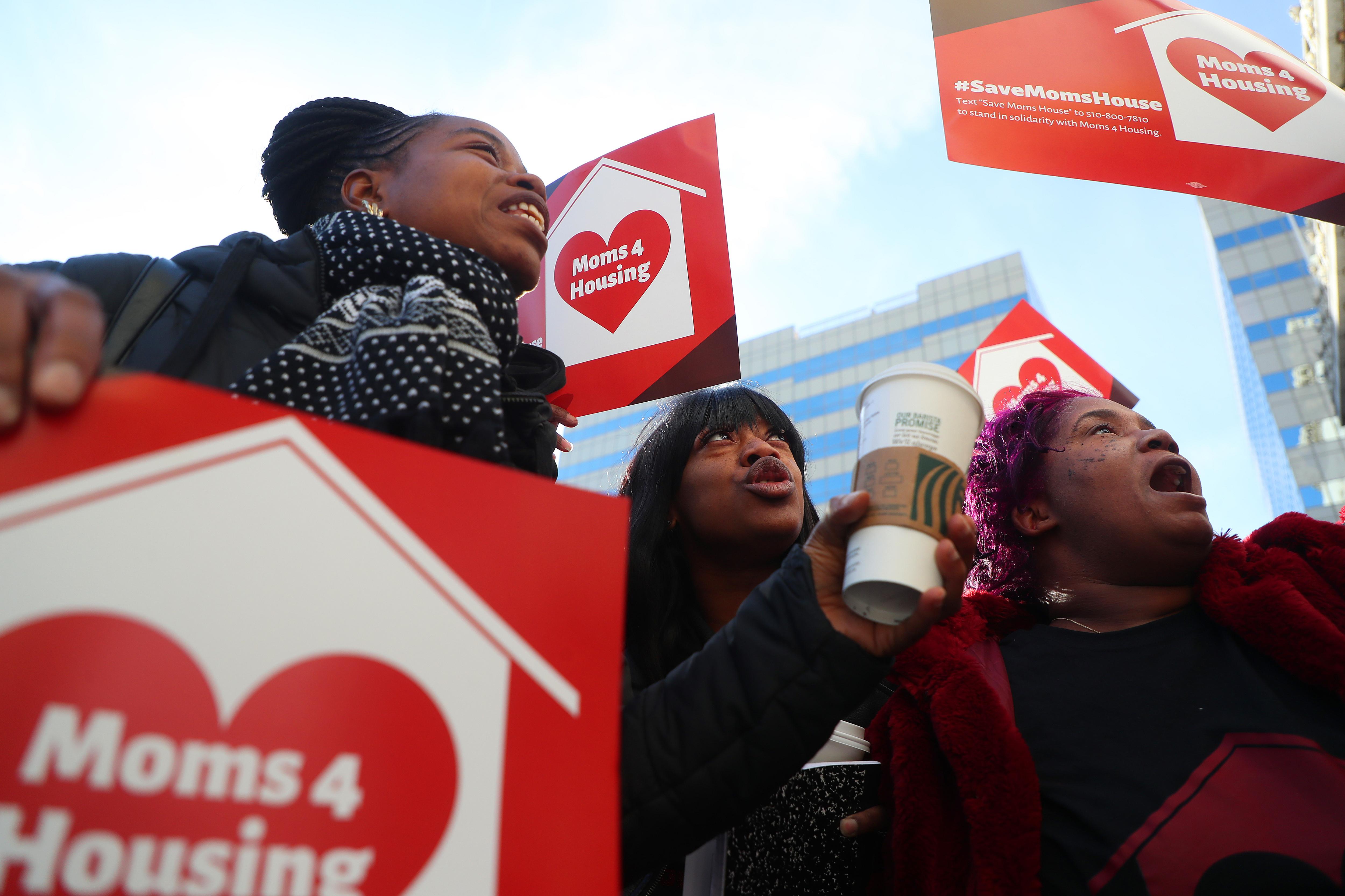 Protestors in Oakland advancing housing justice legislation.