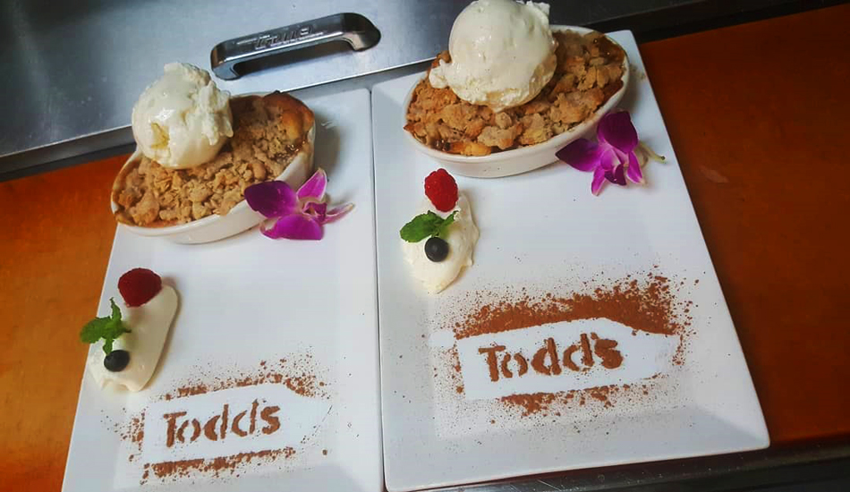 One of the desserts prepared at Todd's Unique Dining, now creating daily special menus for pickup.