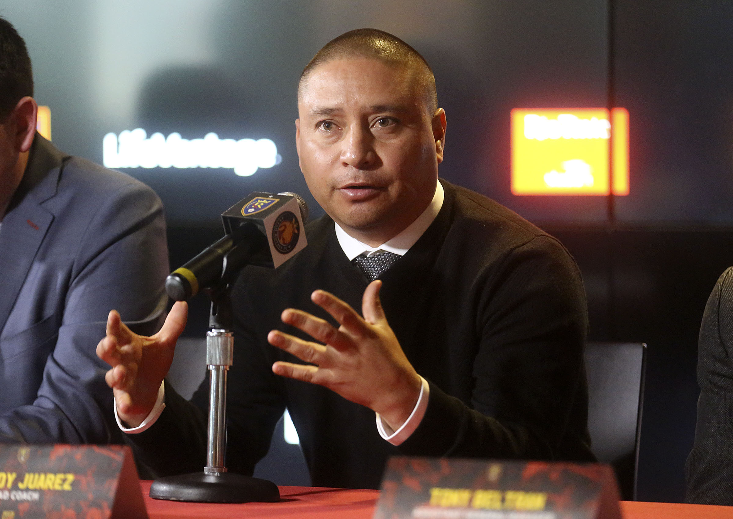 Real Salt Lake head coach Freddy Juarez talks to the media during a press conference to announce his appointment at Rio Tinto Stadium in Sandy on Tuesday, Dec. 3, 2019.