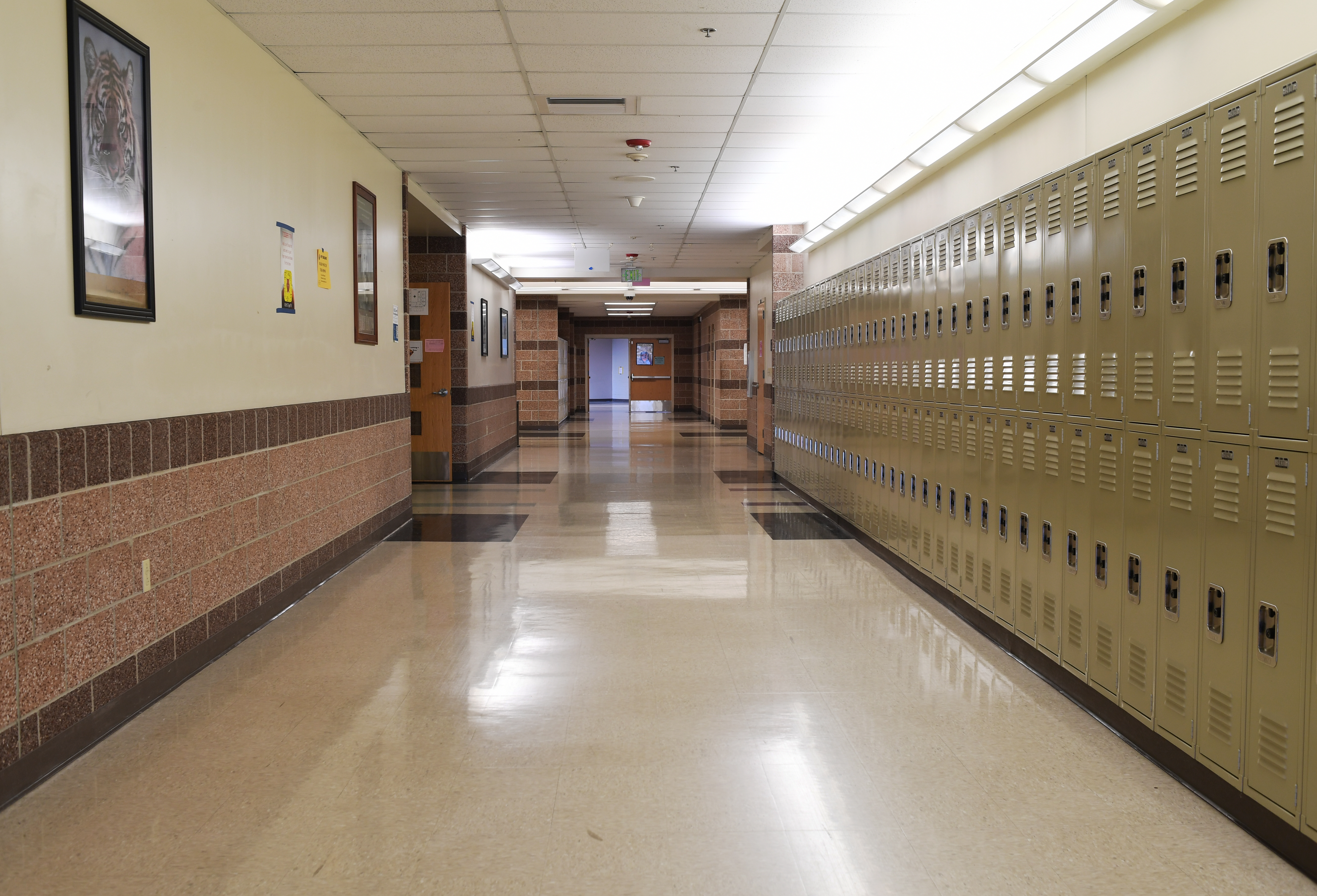 An empty hallway with a row of lockers in a Colorado high school